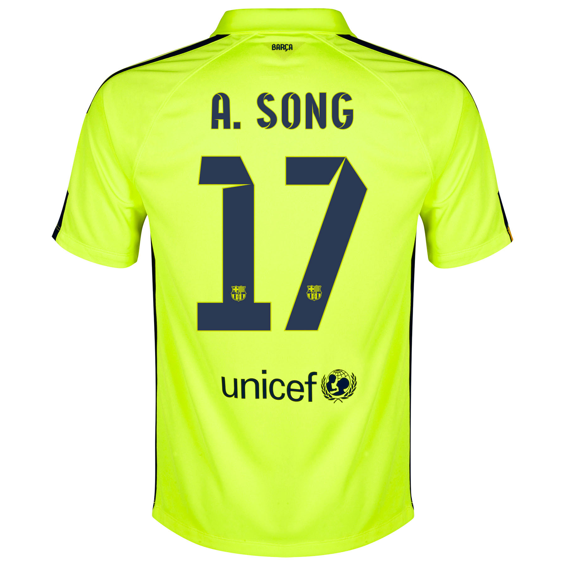 Barcelona Third Shirt 2014/15 - Kids Yellow with A. Song 17 printing