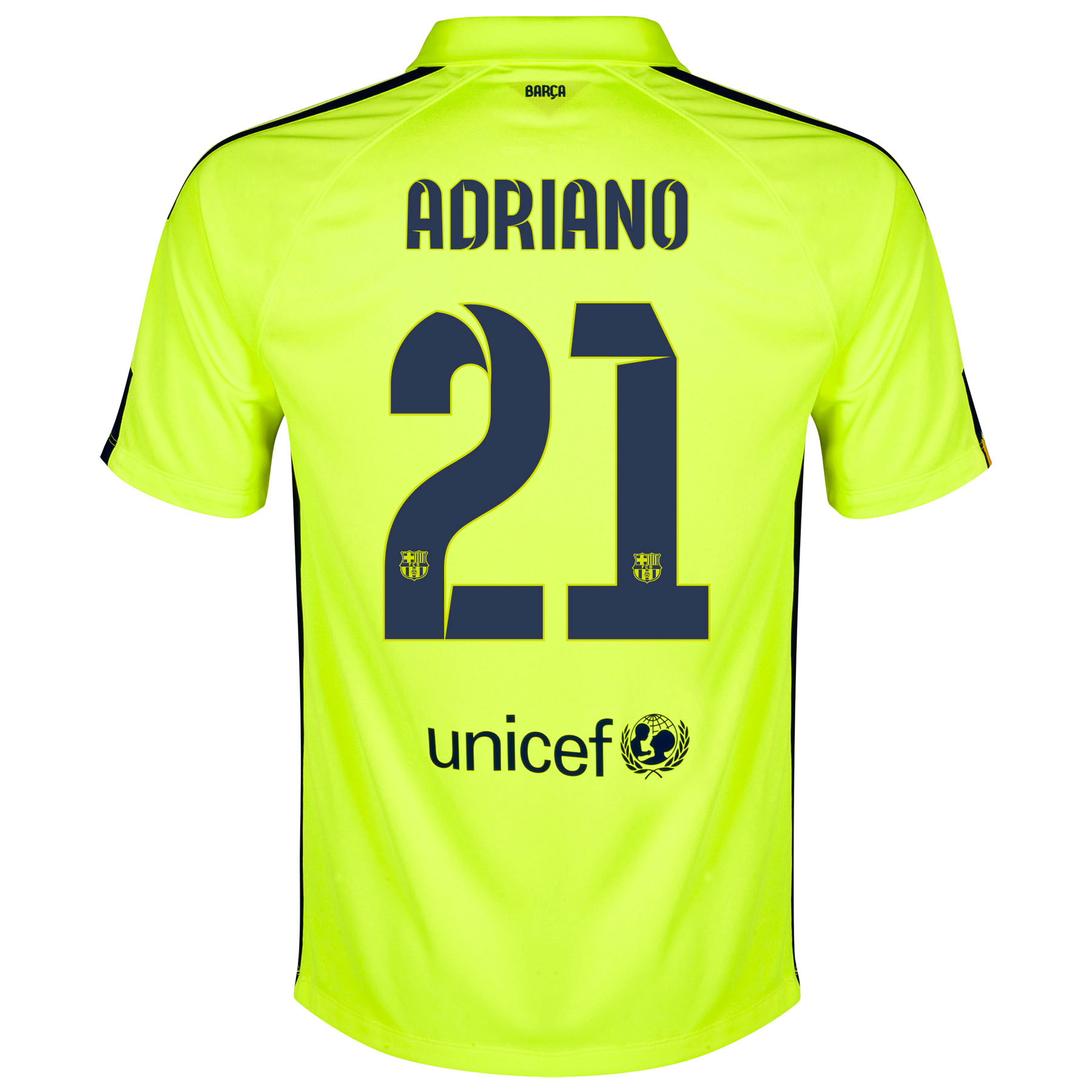 Barcelona Third Shirt 2014/15 - Kids Yellow with Adriano 21 printing