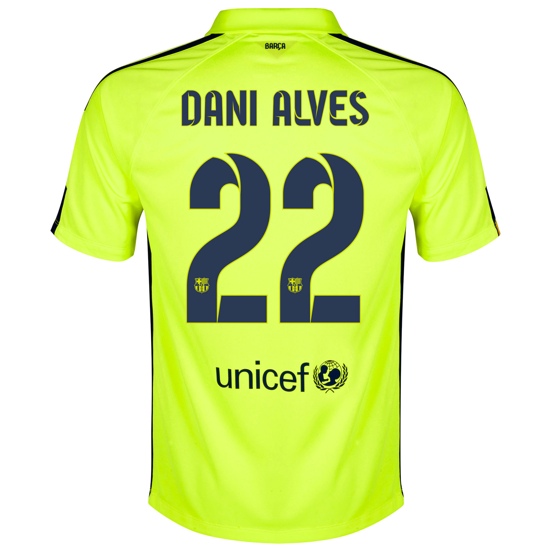 Barcelona Third Shirt 2014/15 - Kids Yellow with Dani Alves 22 printing