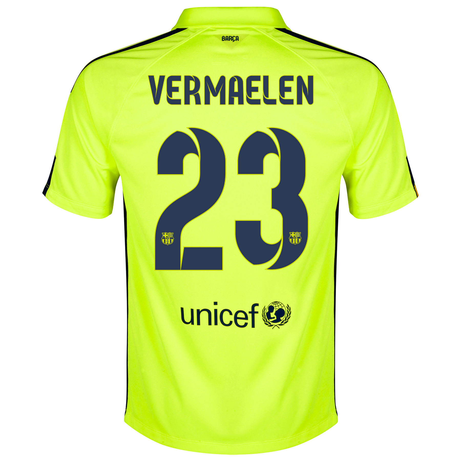 Barcelona Third Shirt 2014/15 - Kids Yellow with Vermaelen 23 printing