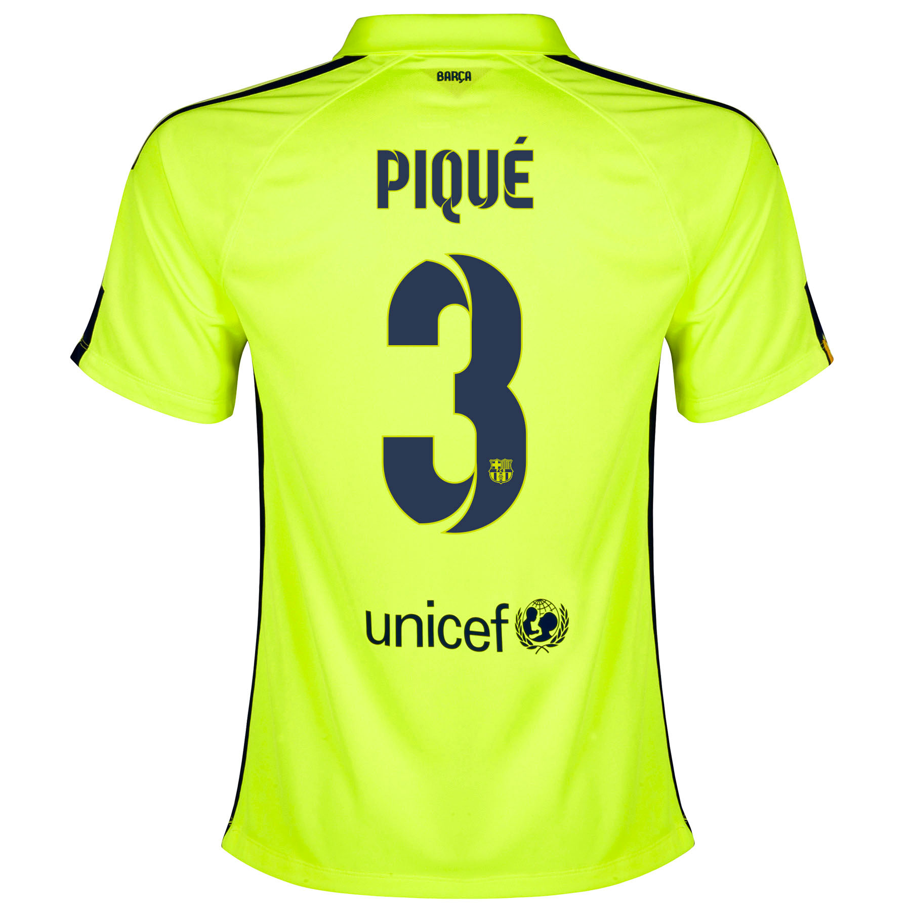 Barcelona Third Shirt 2014/15 - Womens Yellow with Pique 3 printing