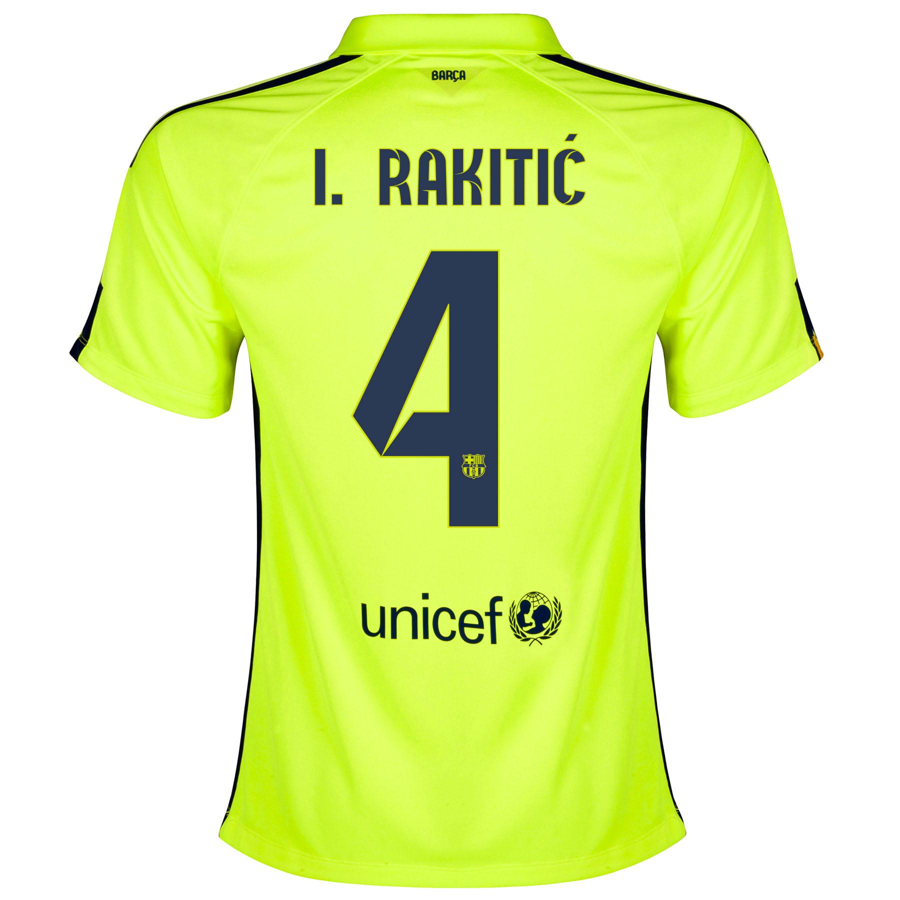 Barcelona Third Shirt 2014/15 - Womens Yellow with Rakitic 4 printing