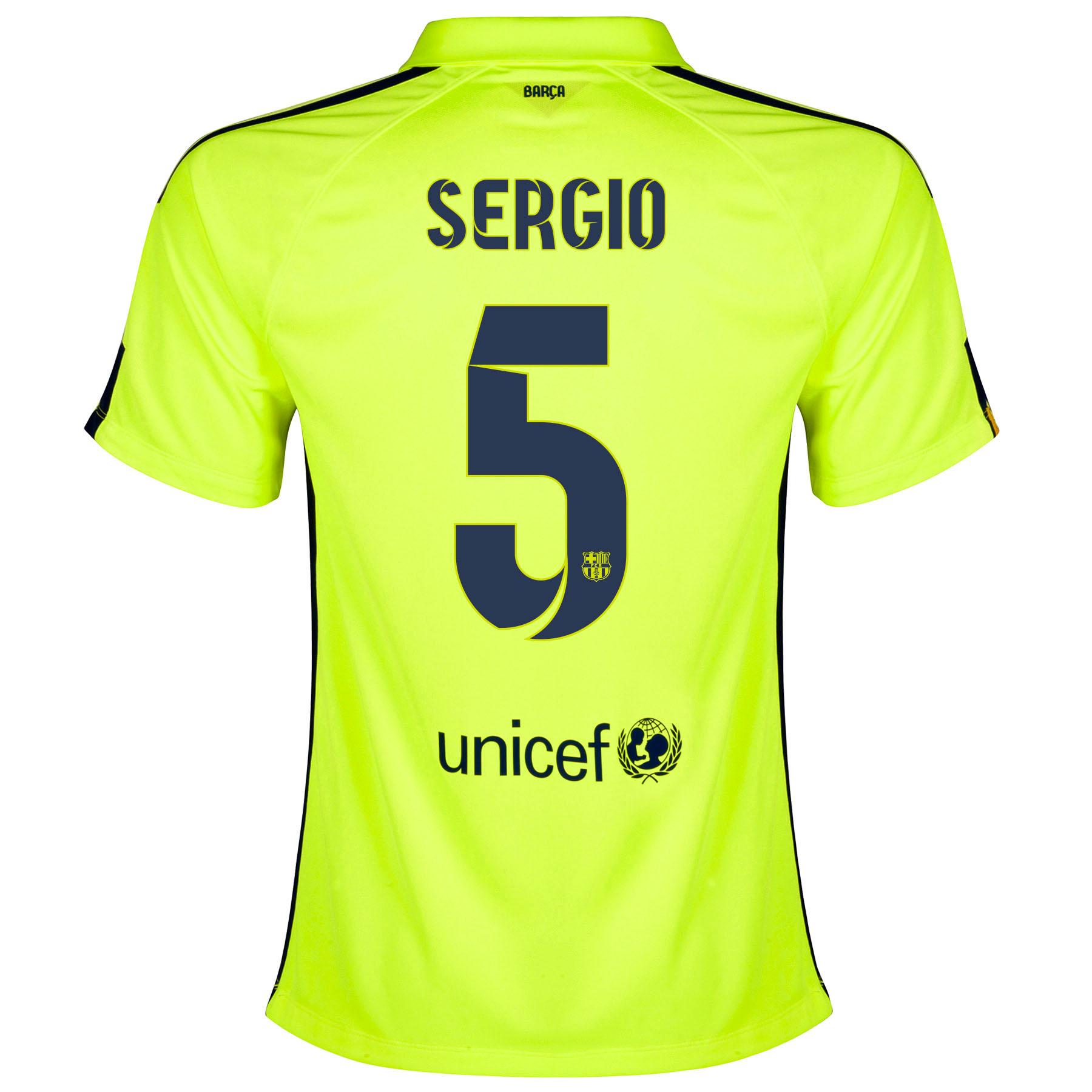 Barcelona Third Shirt 2014/15 - Womens Yellow with Sergio 5 printing