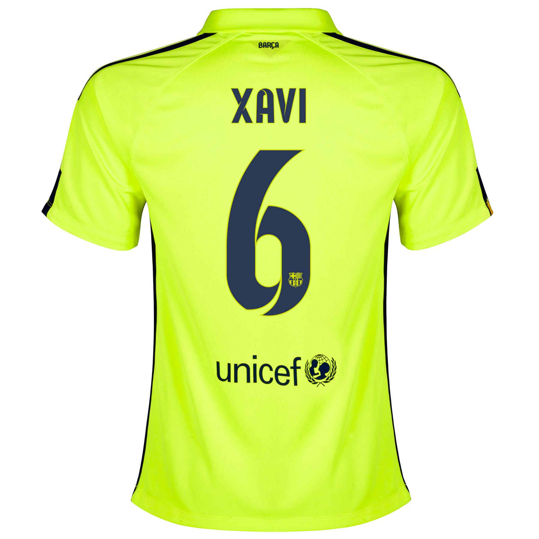 Barcelona Third Shirt 2014/15 - Womens Yellow with Xavi 6 printing