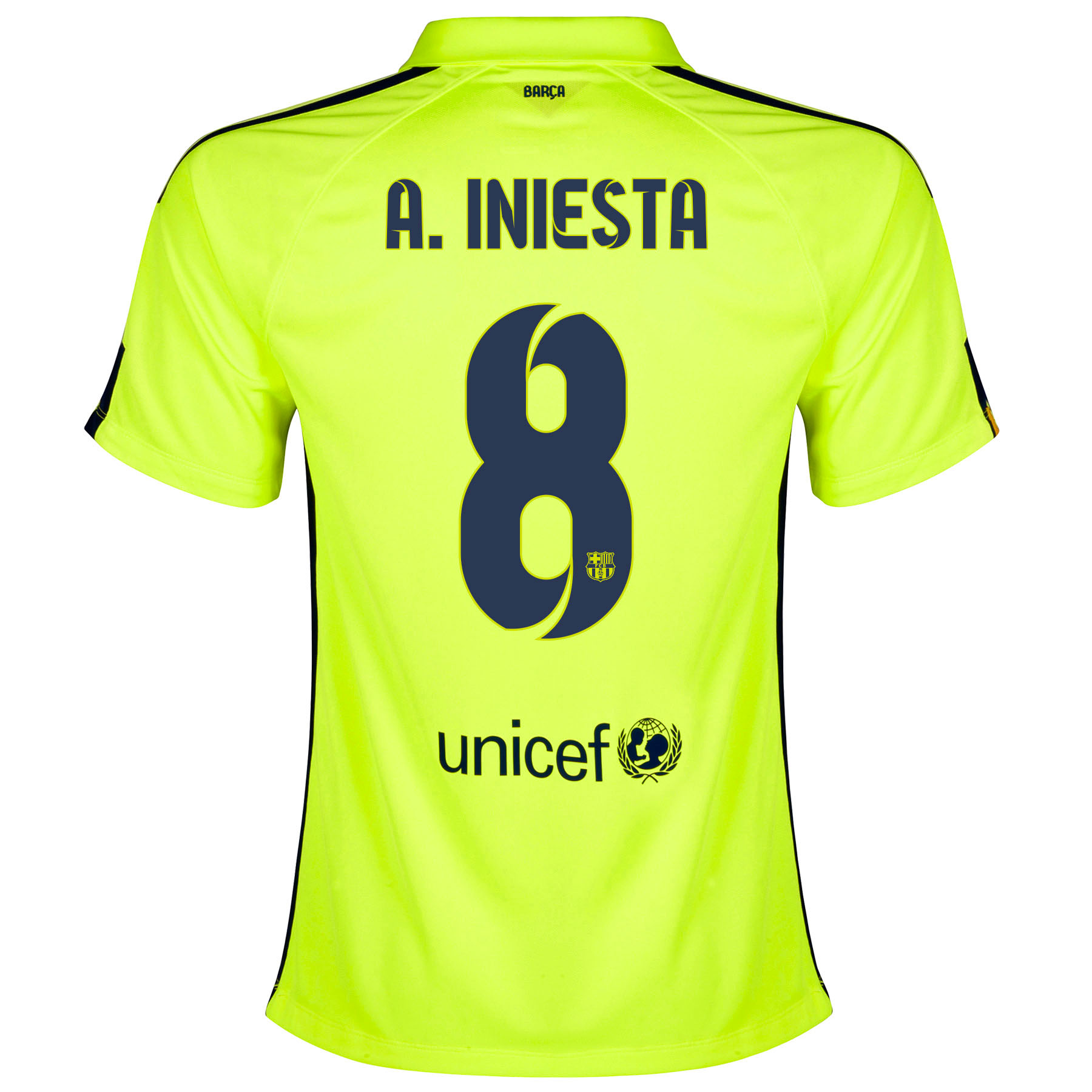 Barcelona Third Shirt 2014/15 - Womens Yellow with A. Iniesta  8 printing
