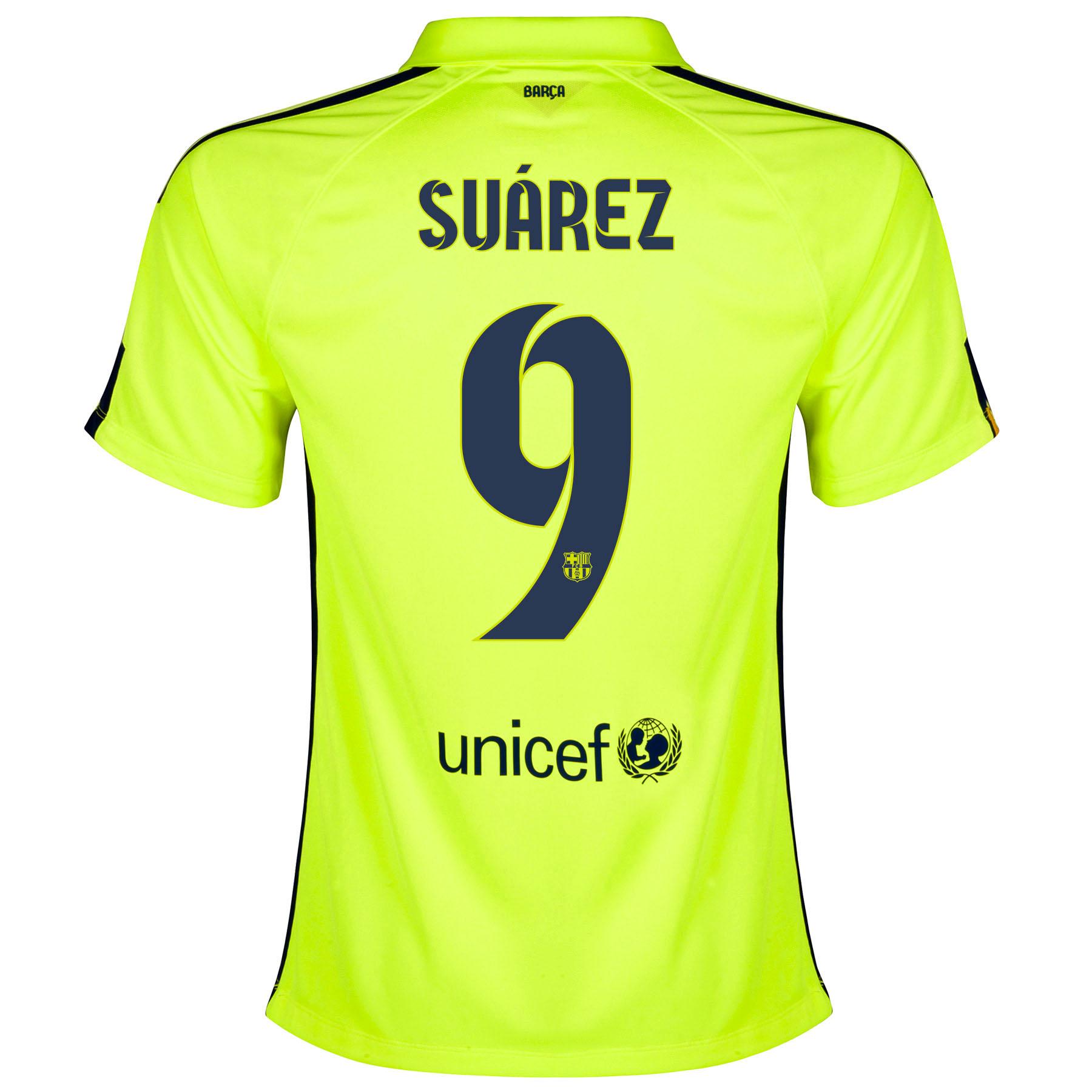 Barcelona Third Shirt 2014/15 - Womens Yellow with Suárez 9 printing