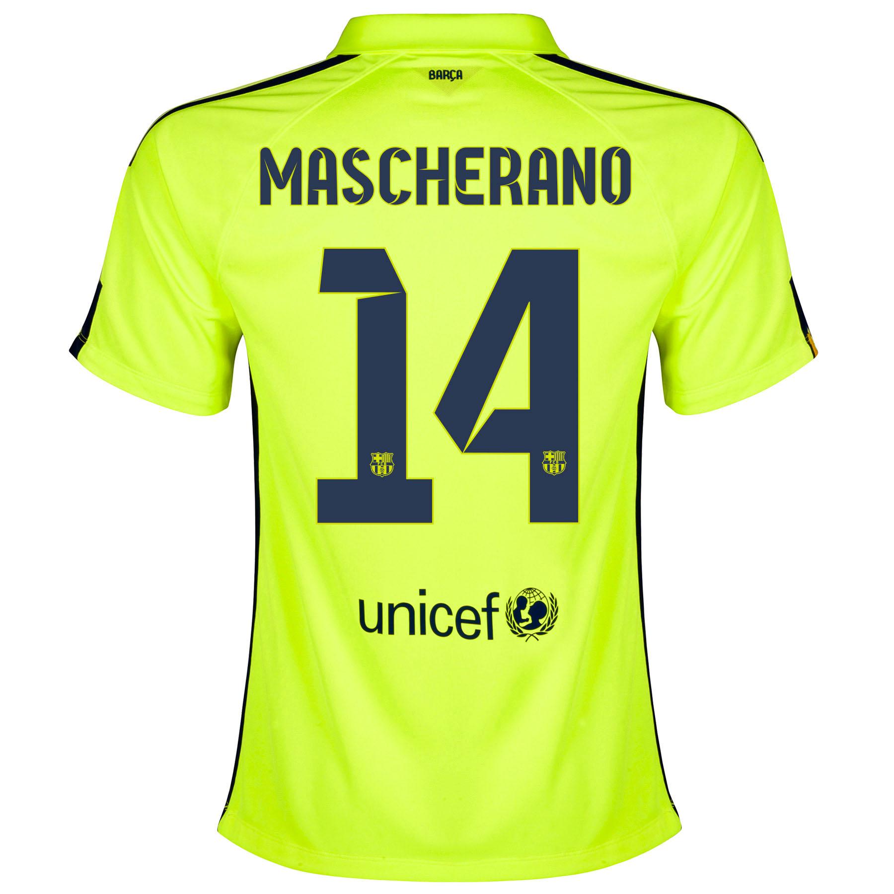 Barcelona Third Shirt 2014/15 - Womens Yellow with Mascherano 14 printing