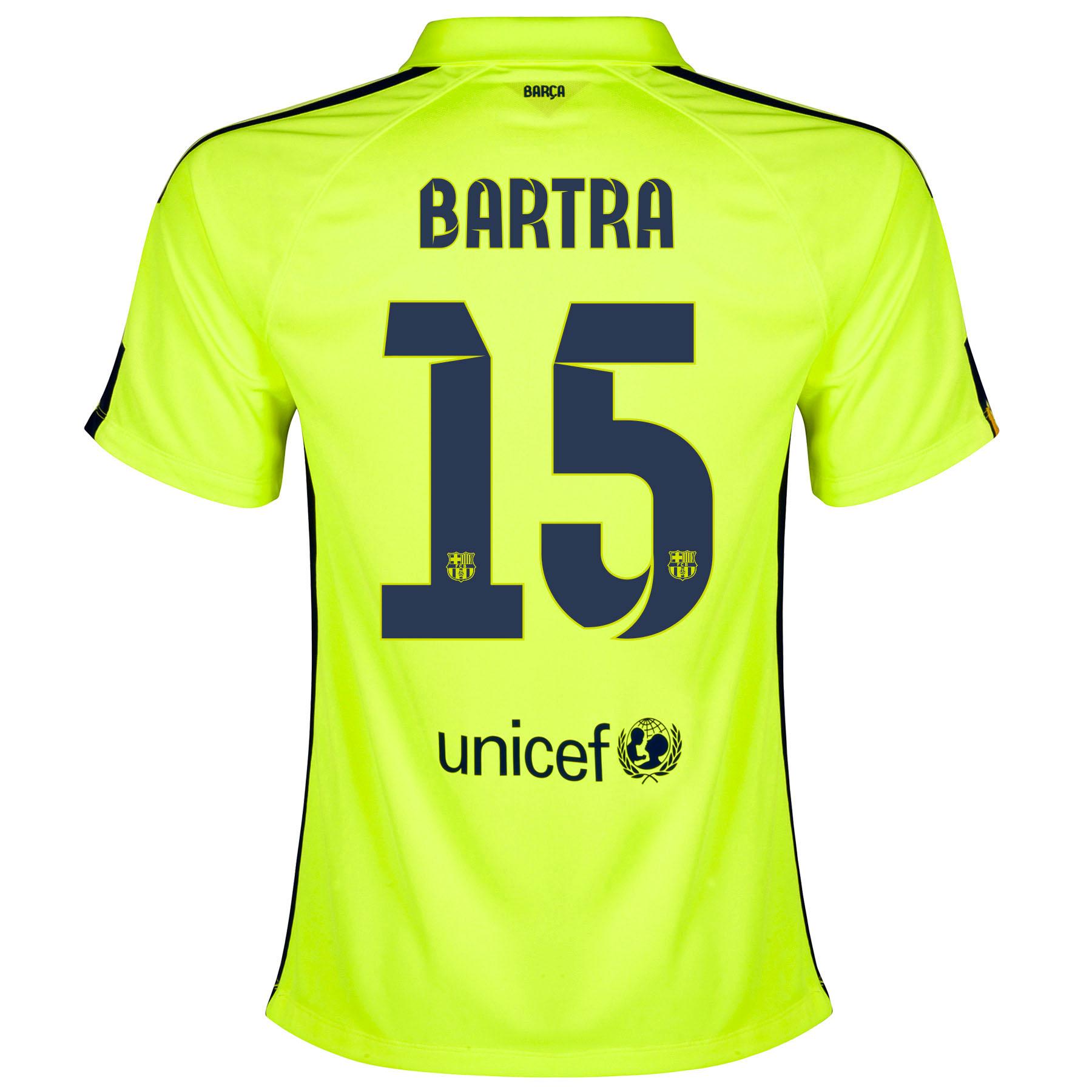 Barcelona Third Shirt 2014/15 - Womens Yellow with Bartra 15 printing