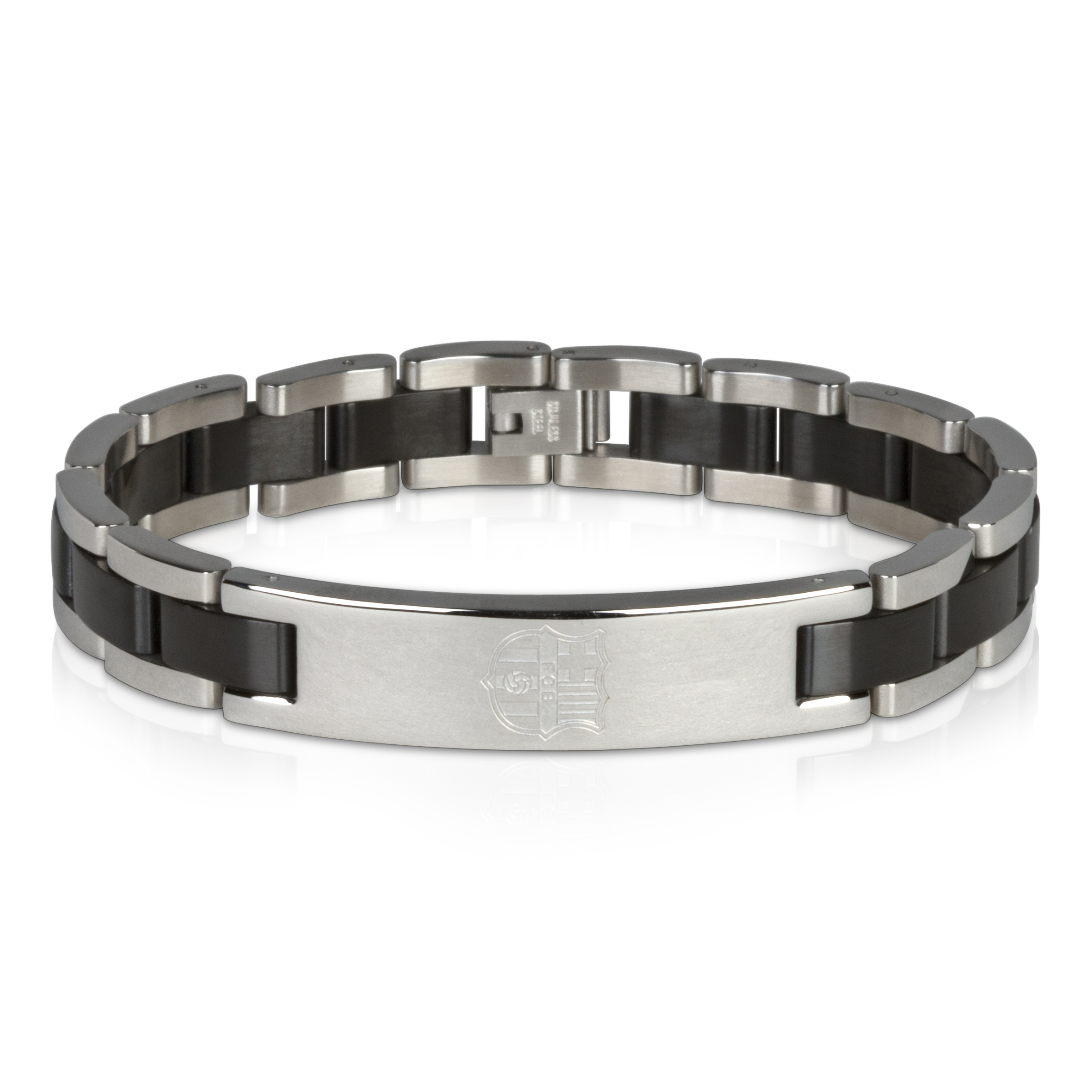 Barcelona Crest Bracelet with Black Inlay - Stainless Steel