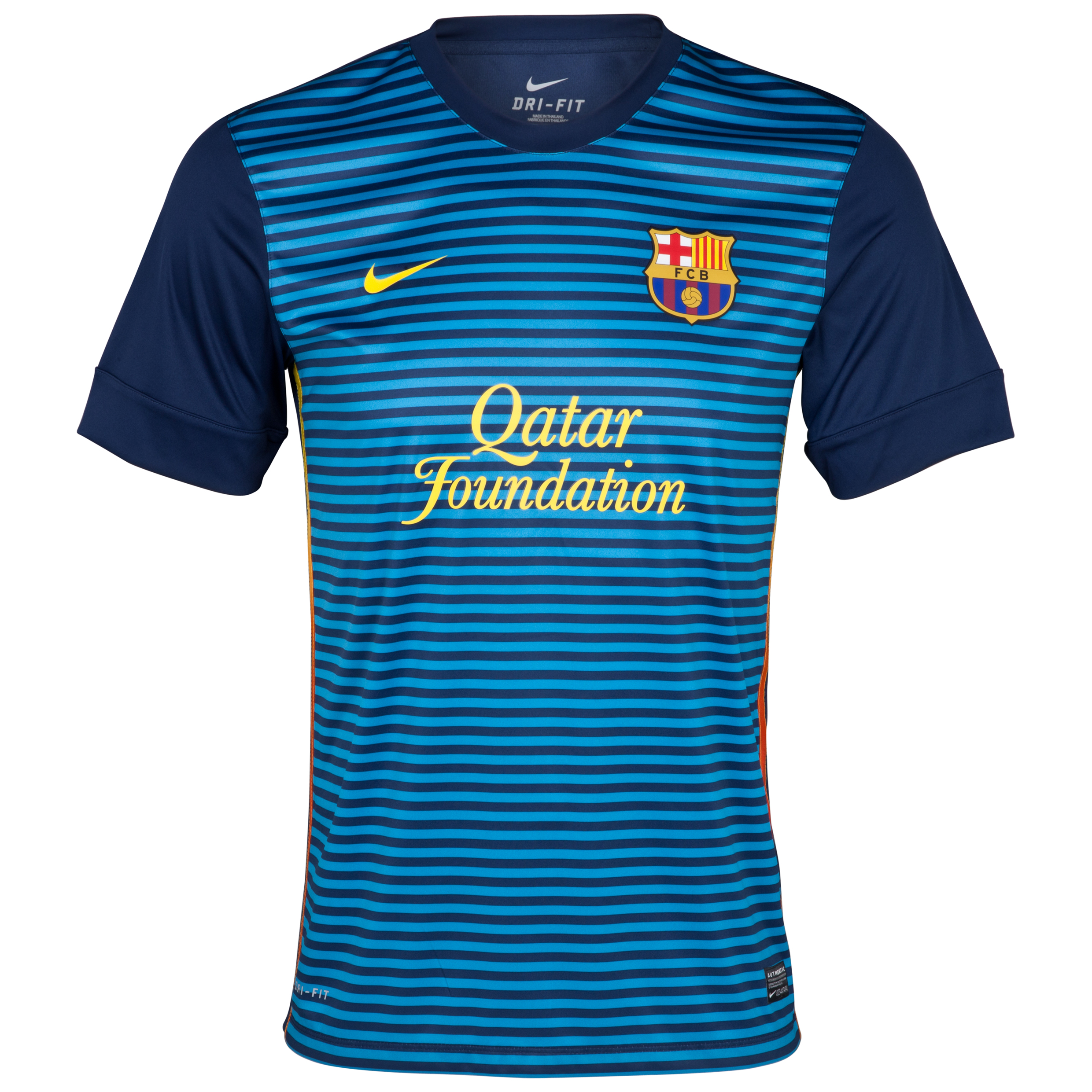 Barcelona Short Sleeve Prematch Top 1 - Midnight Navy/Dynamic Blue/Tour Yellow
