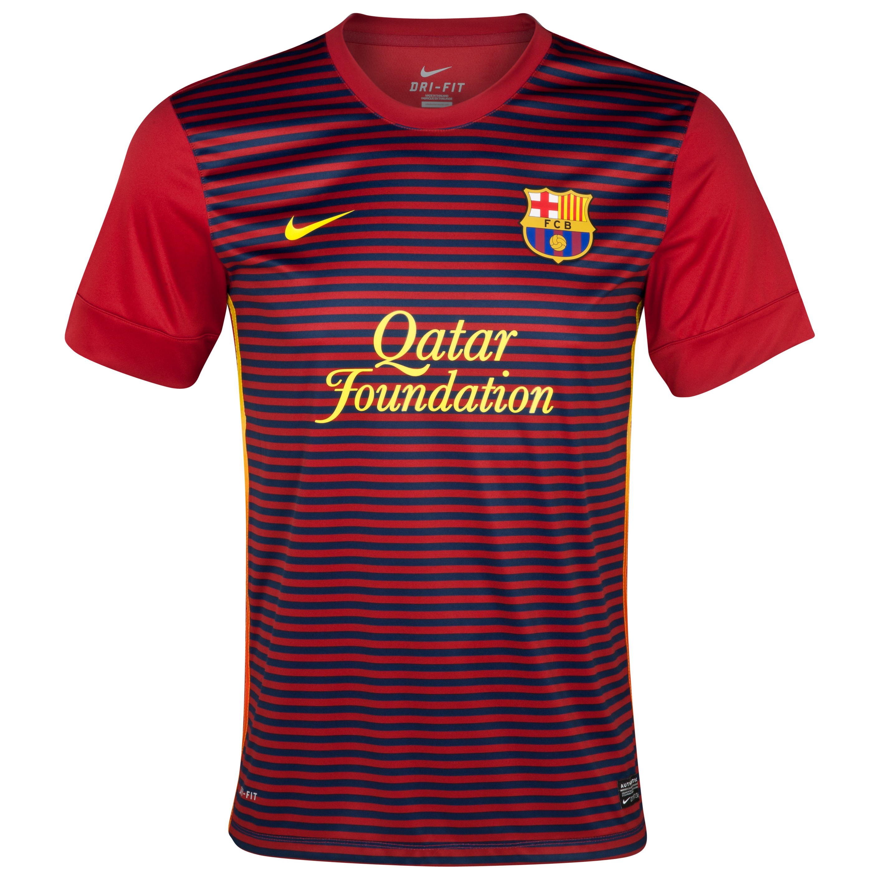 Barcelona Short Sleeve Prematch Top 1 - Storm Red/Midnight Navy/Tour Yellow