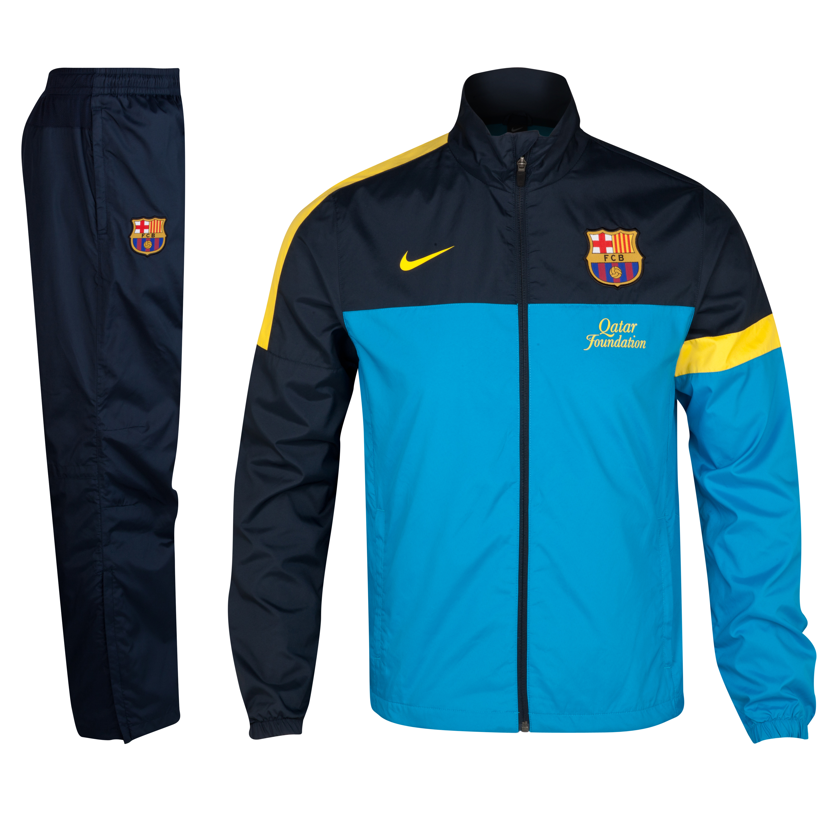 Barcelona Woven Warm-up Tracksuit - Dynamic Blue/Dark Obsidian/Tour Yellow