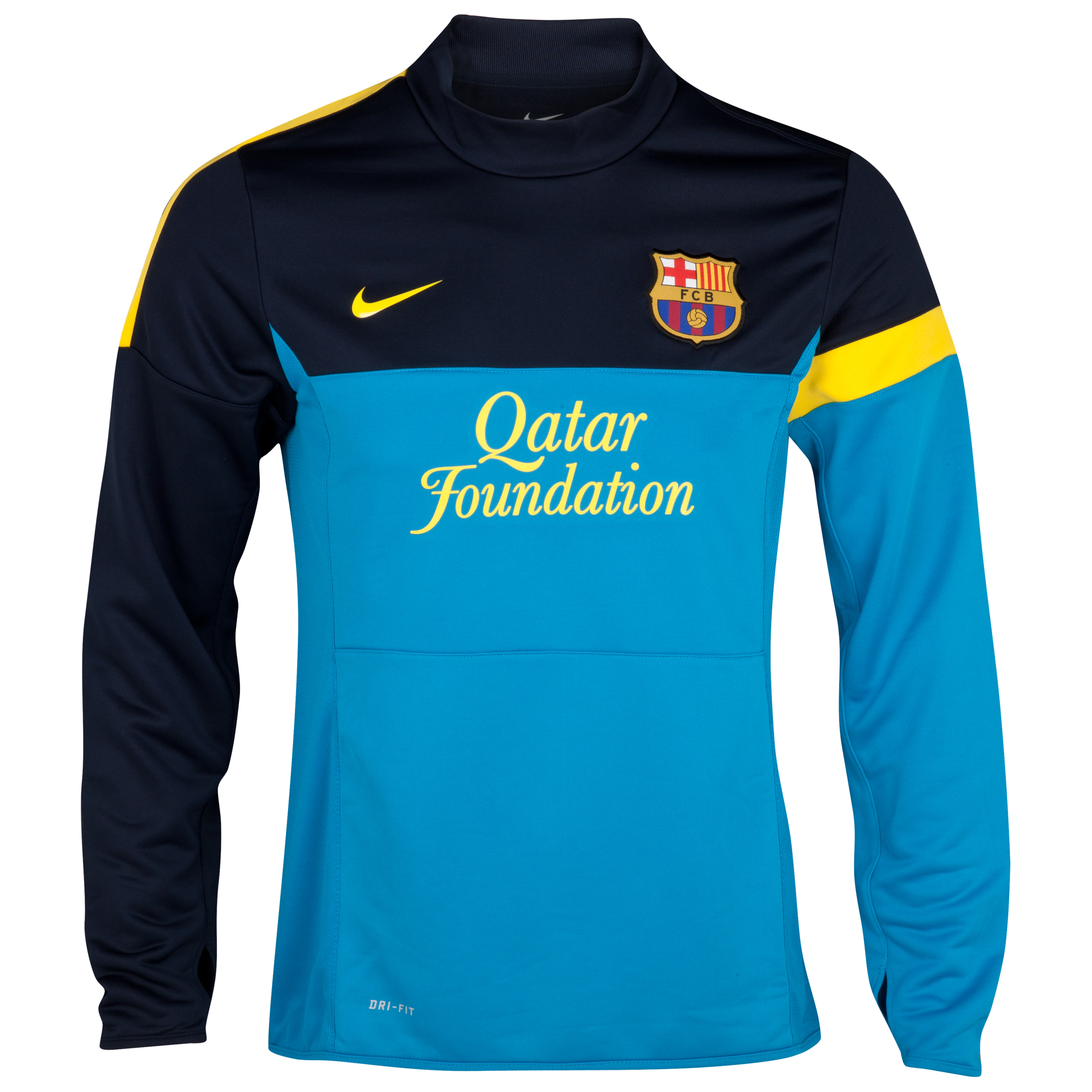 Barcelona Long Sleeved Midlayer Top - Dynamic Blue/Dark Obsidian/Tour Yellow
