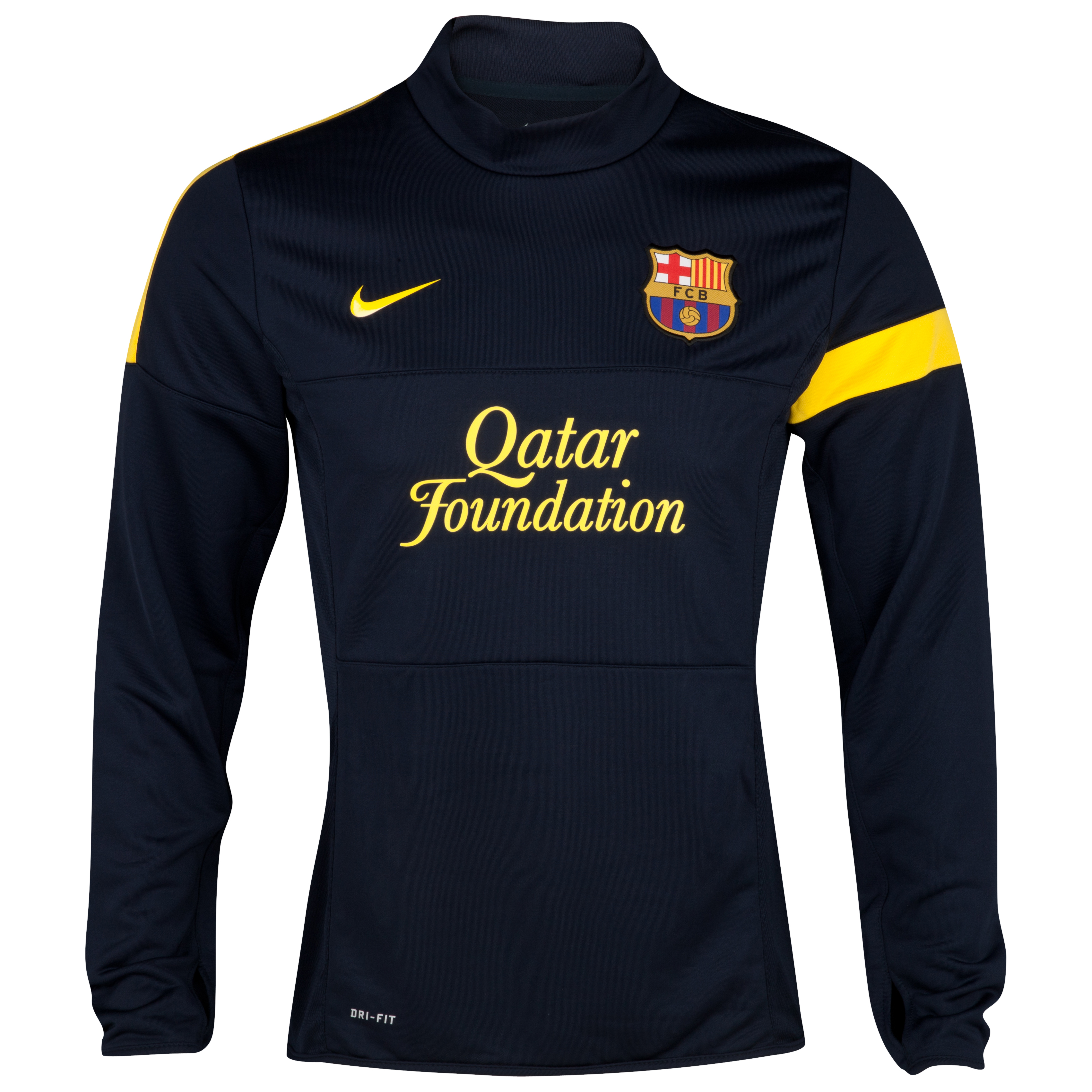 Barcelona Long Sleeved Midlayer Top - Dark Obsidian/Dark Obsidian/Tour Yellow