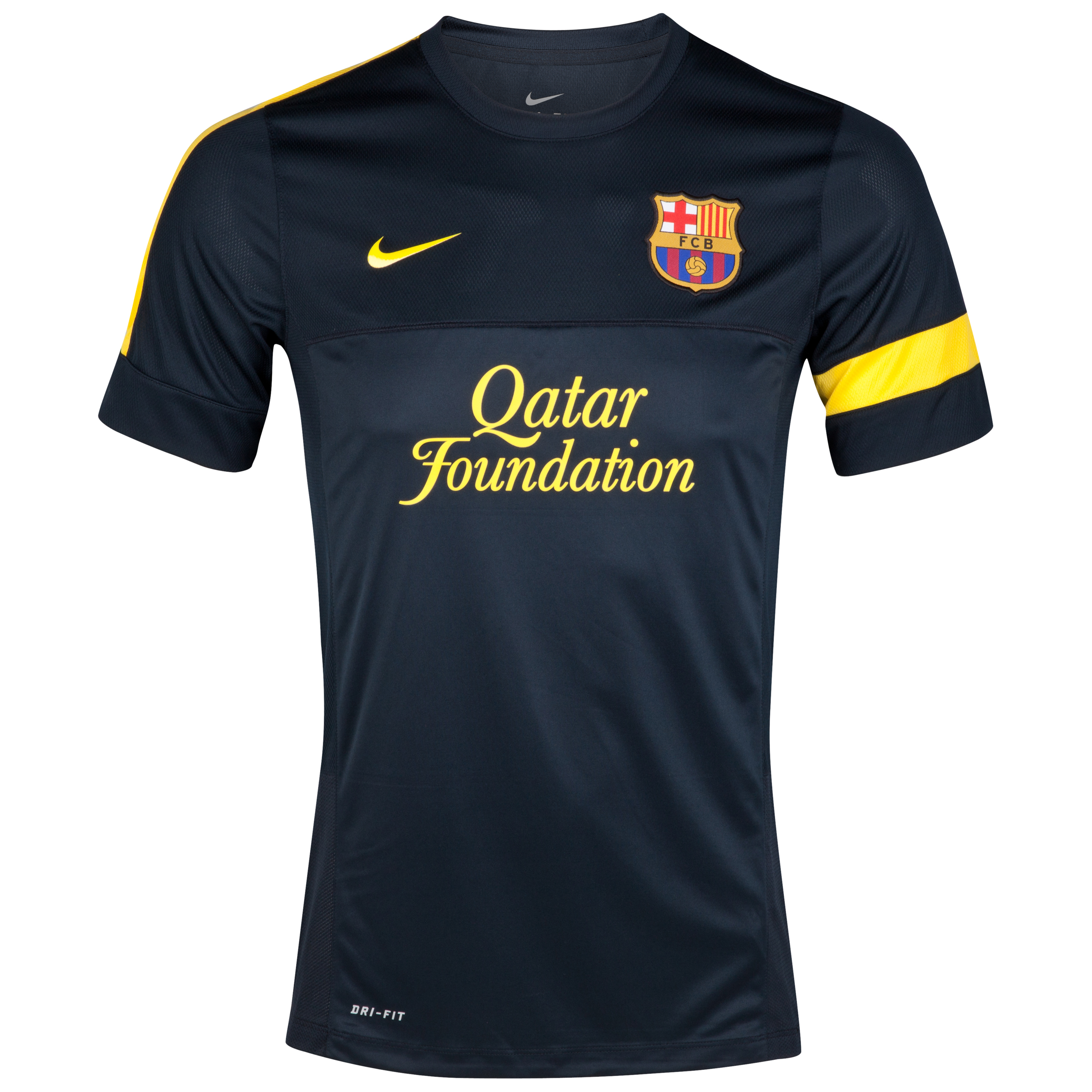 Barcelona Short Sleeve Training Top 1 - Dark Obsidian/Dark Obsidian/Tour Yellow  -Youths