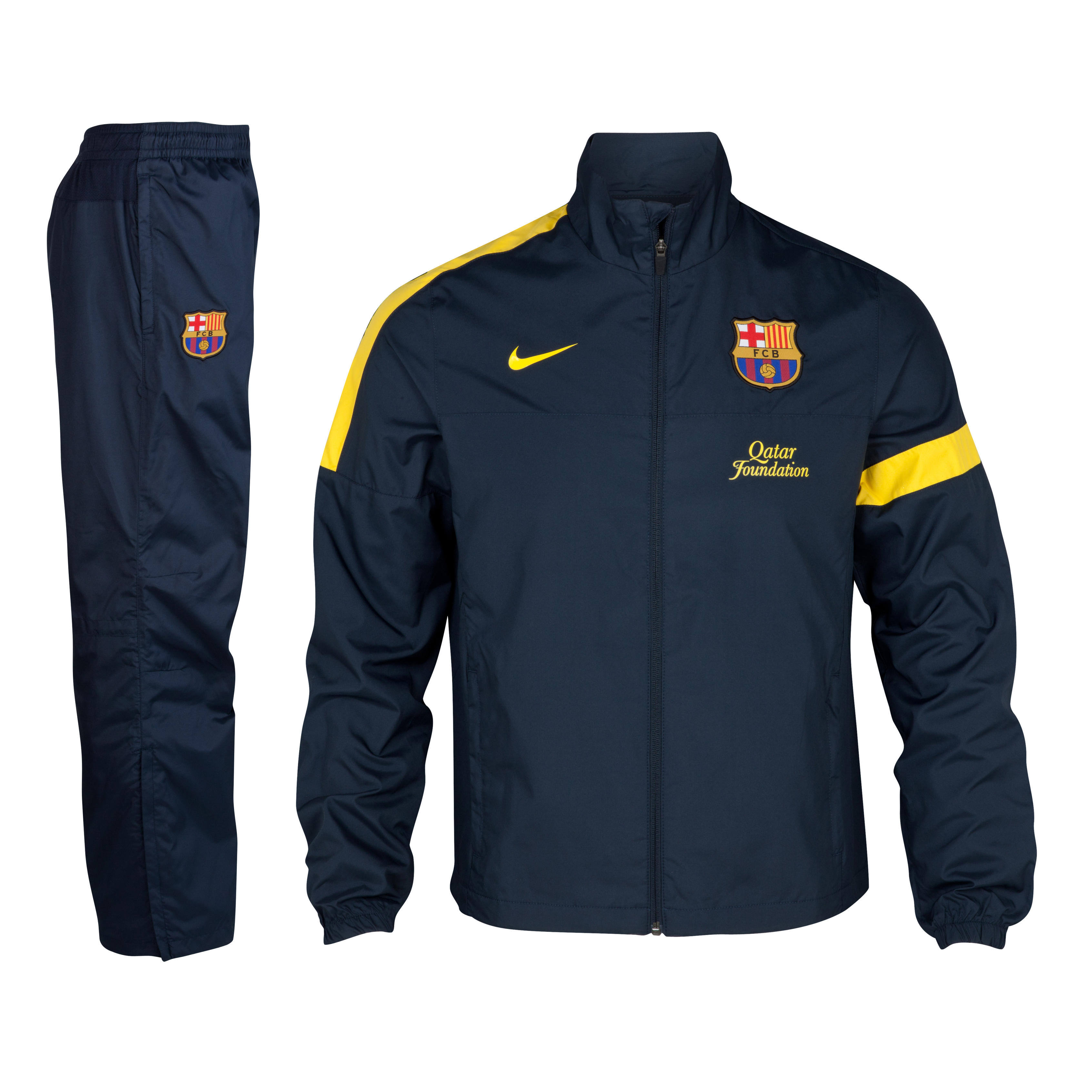 Barcelona Sideline Woven Warm-up Tracksuit - Dark Obsidian/Dark Obsidian/Tour Yellow - Kids