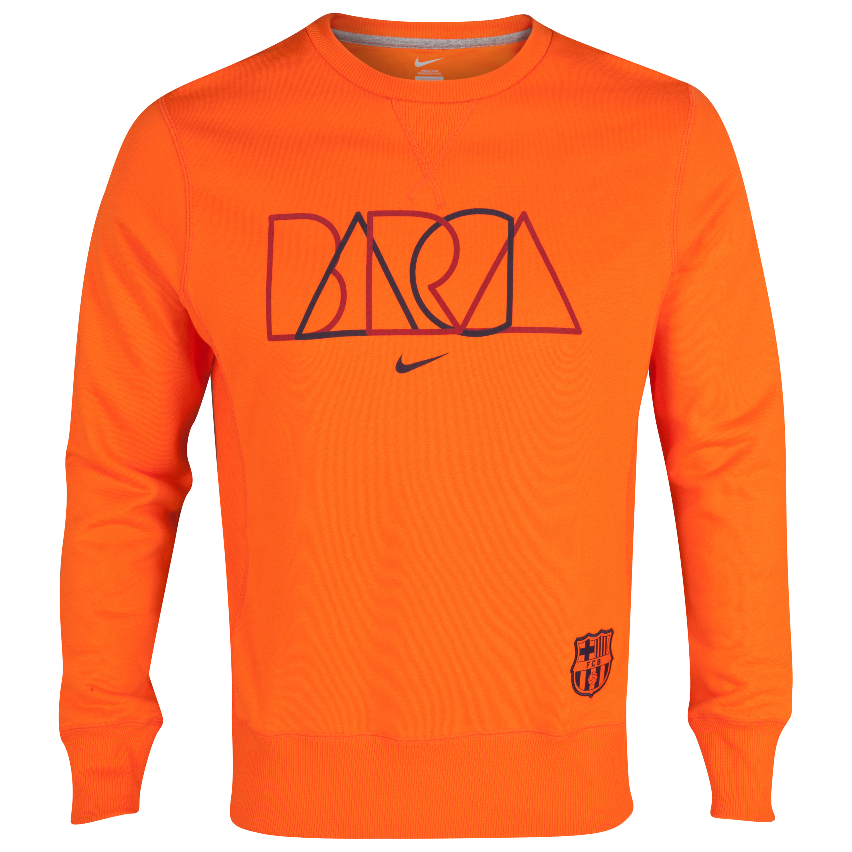 Barcelona Core Crew Sweatshirt - Safety Orange/Midnight Navy