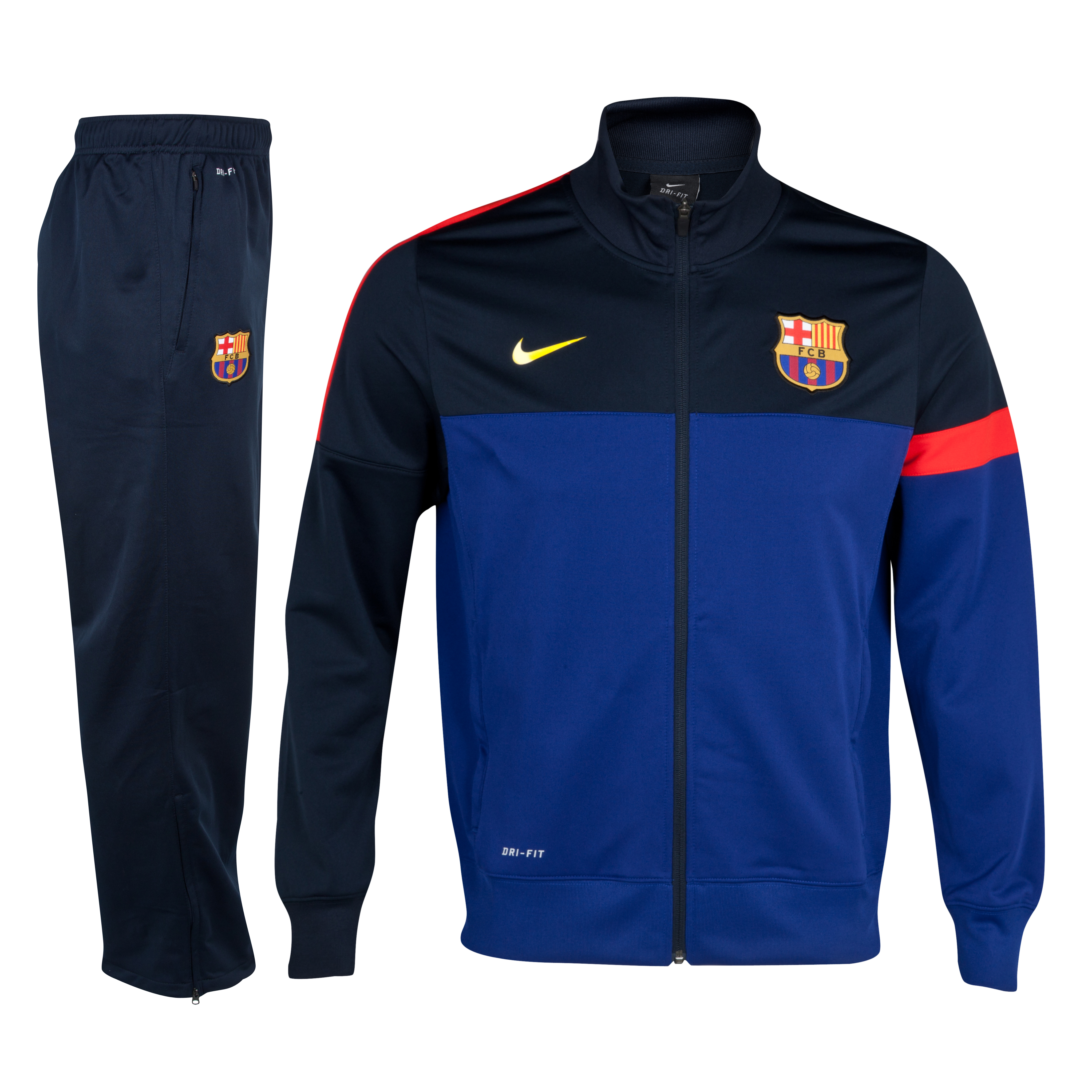 Barcelona Sideline Knit Warm Up Tracksuit - Deep Royal Blue/Tour Yellow