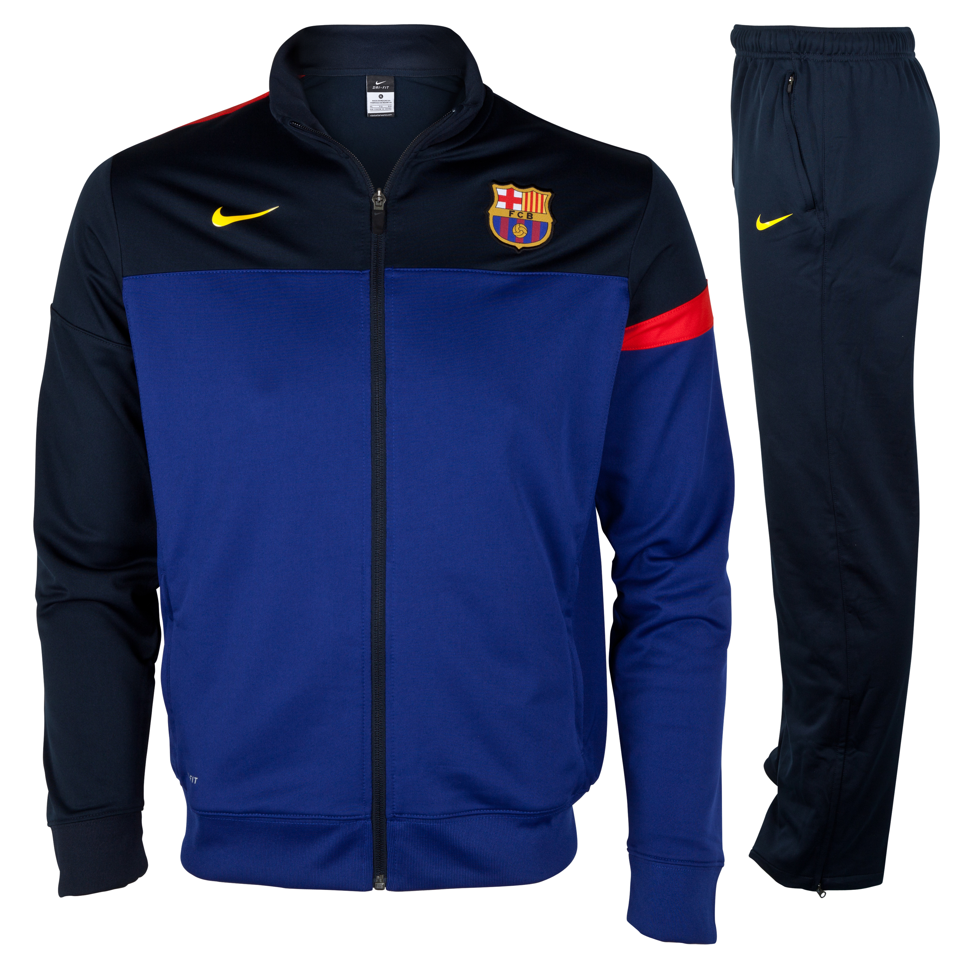 Barcelona Sideline Woven Warm Up Tracksuit - Deep Royal Blue/Tour Yellow