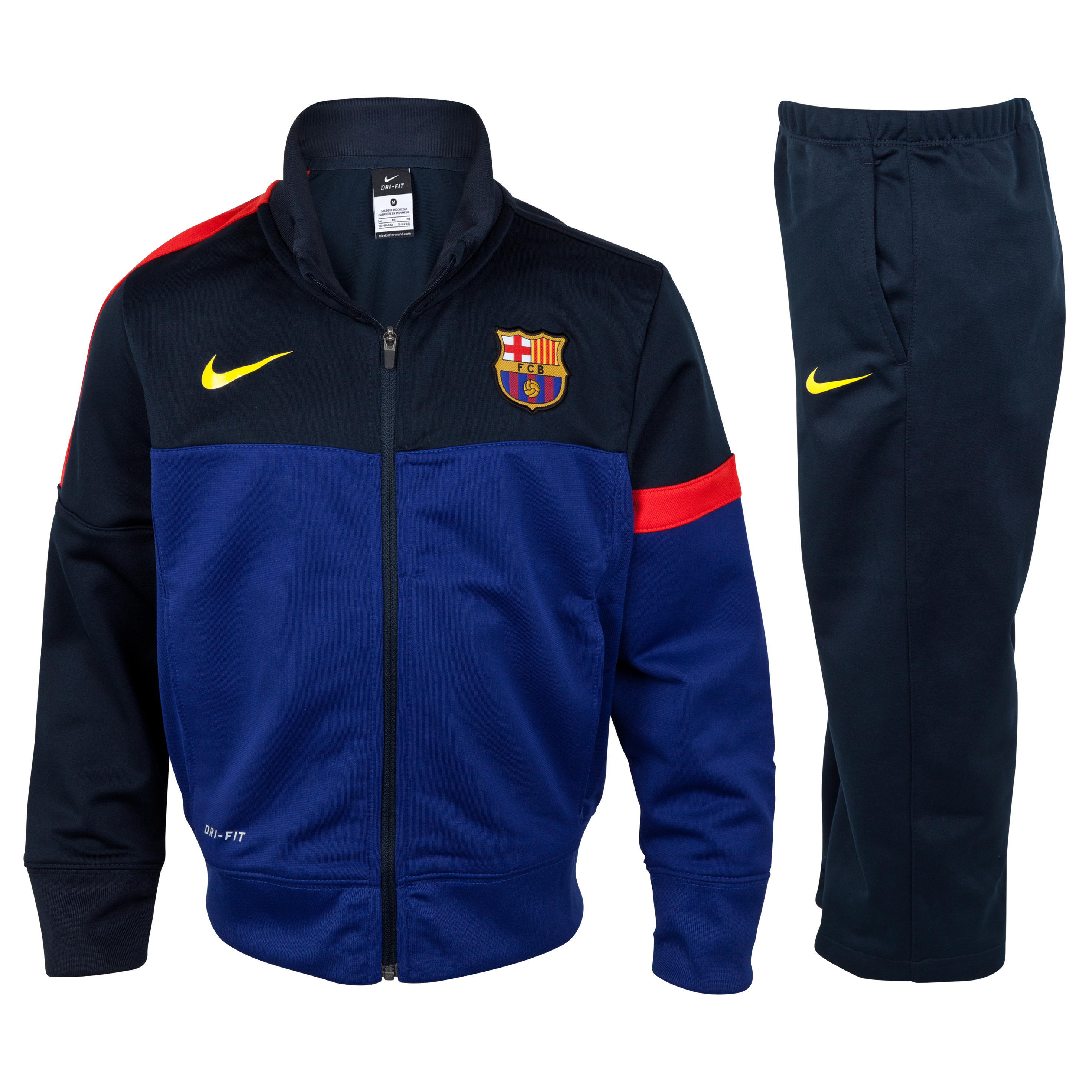 Barcelona Sideline Knit Warm-up Tracksuit - Deep Royal Blue/Tour Yellow - Youths
