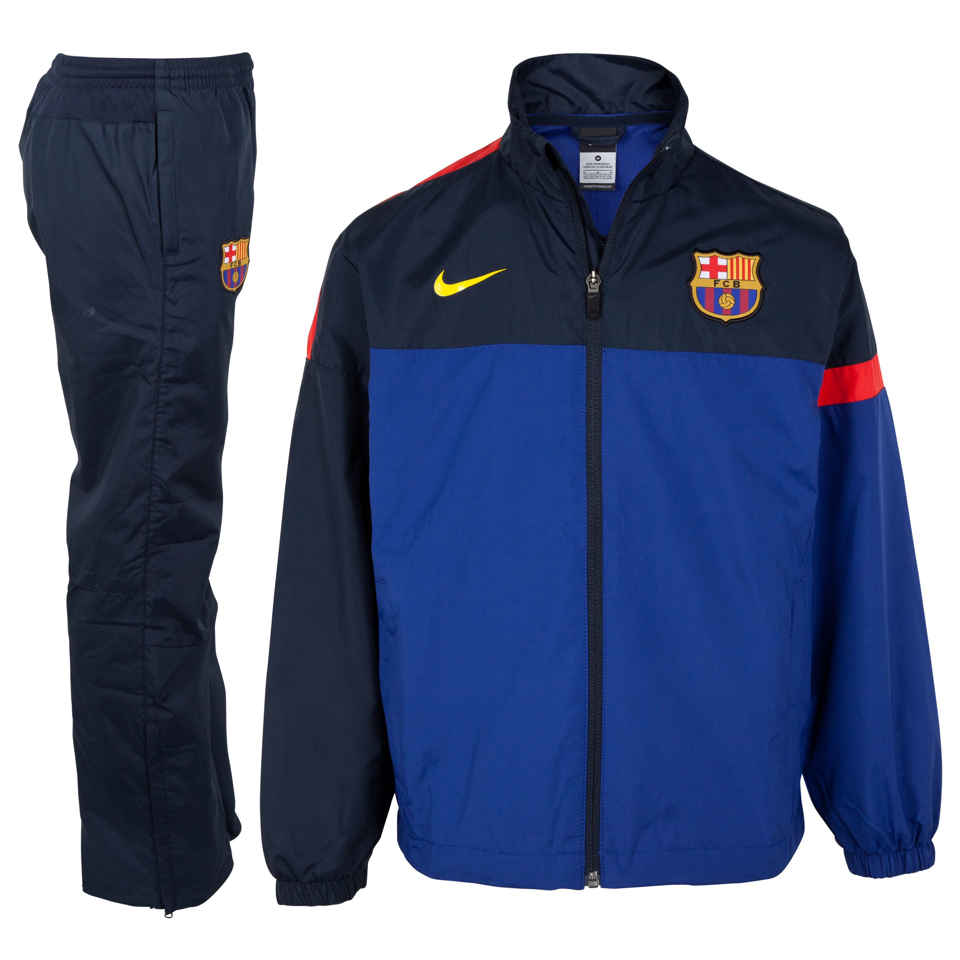 Barcelona Sideline Woven Warm-up Tracksuit - Deep Royal Blue/Tour Yellow - Youths