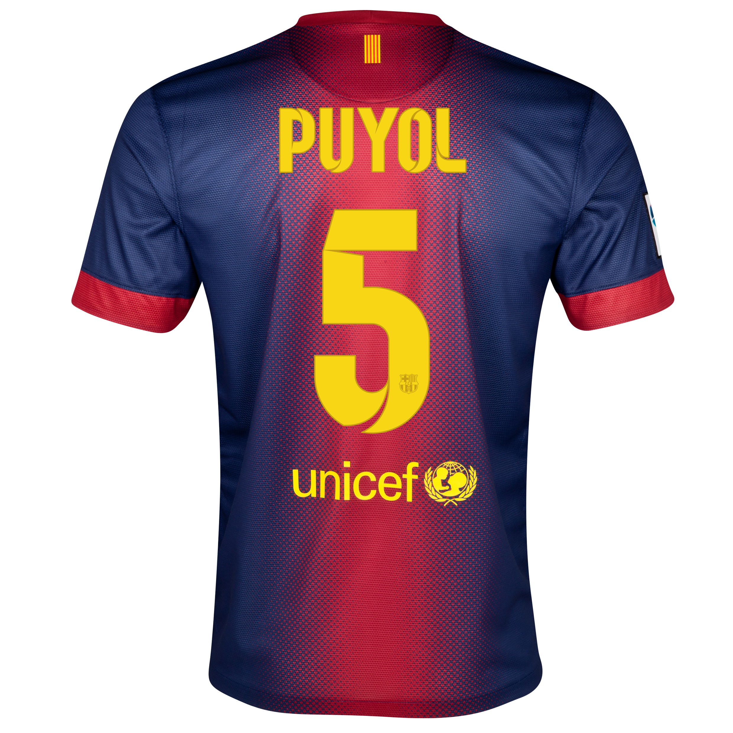 Barcelona Home Shirt 2012/13 with Puyol 5 printing