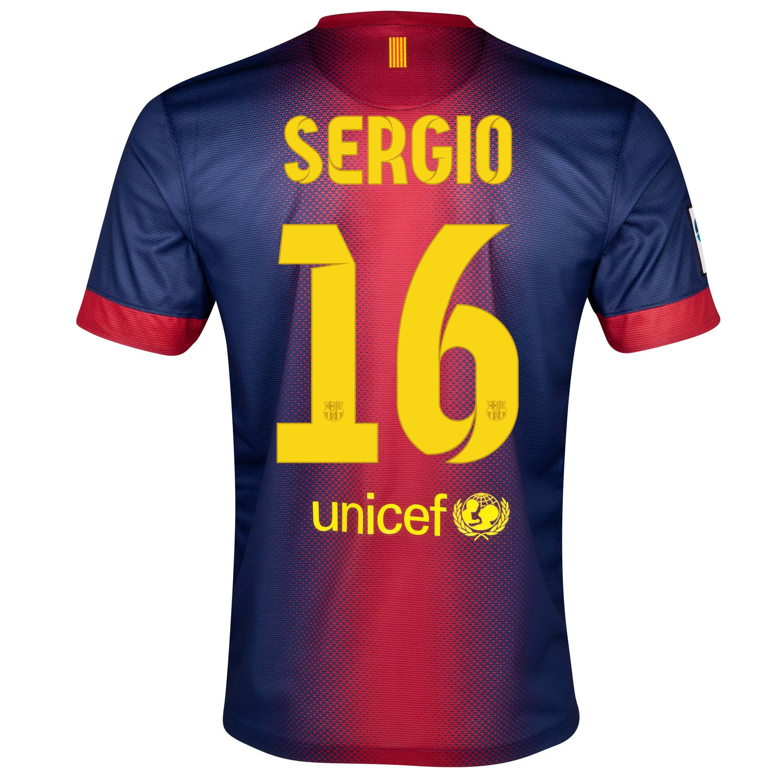 Barcelona Home Shirt 2012/13 - Kids with Sergio 16 printing. for 48€
