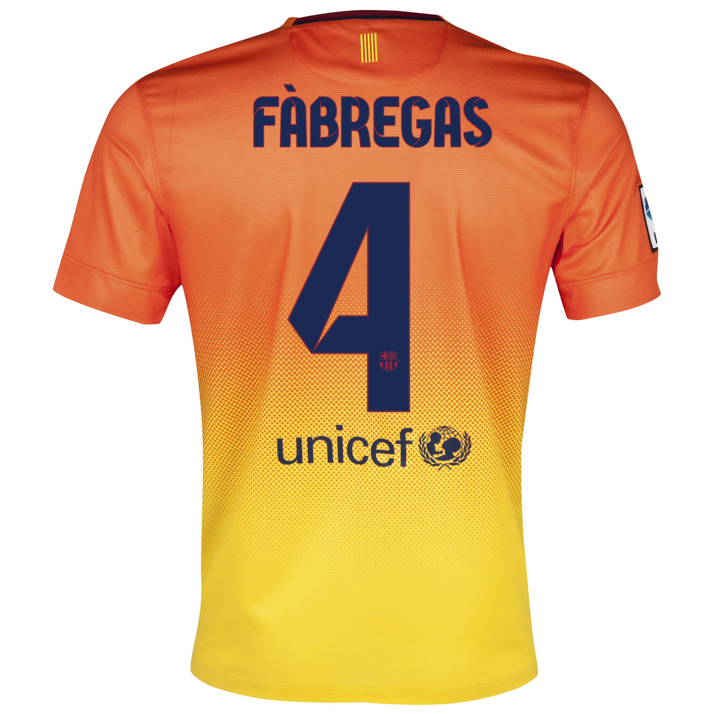 Barcelona Away Shirt 2012/13 with Fabregas 4 printing