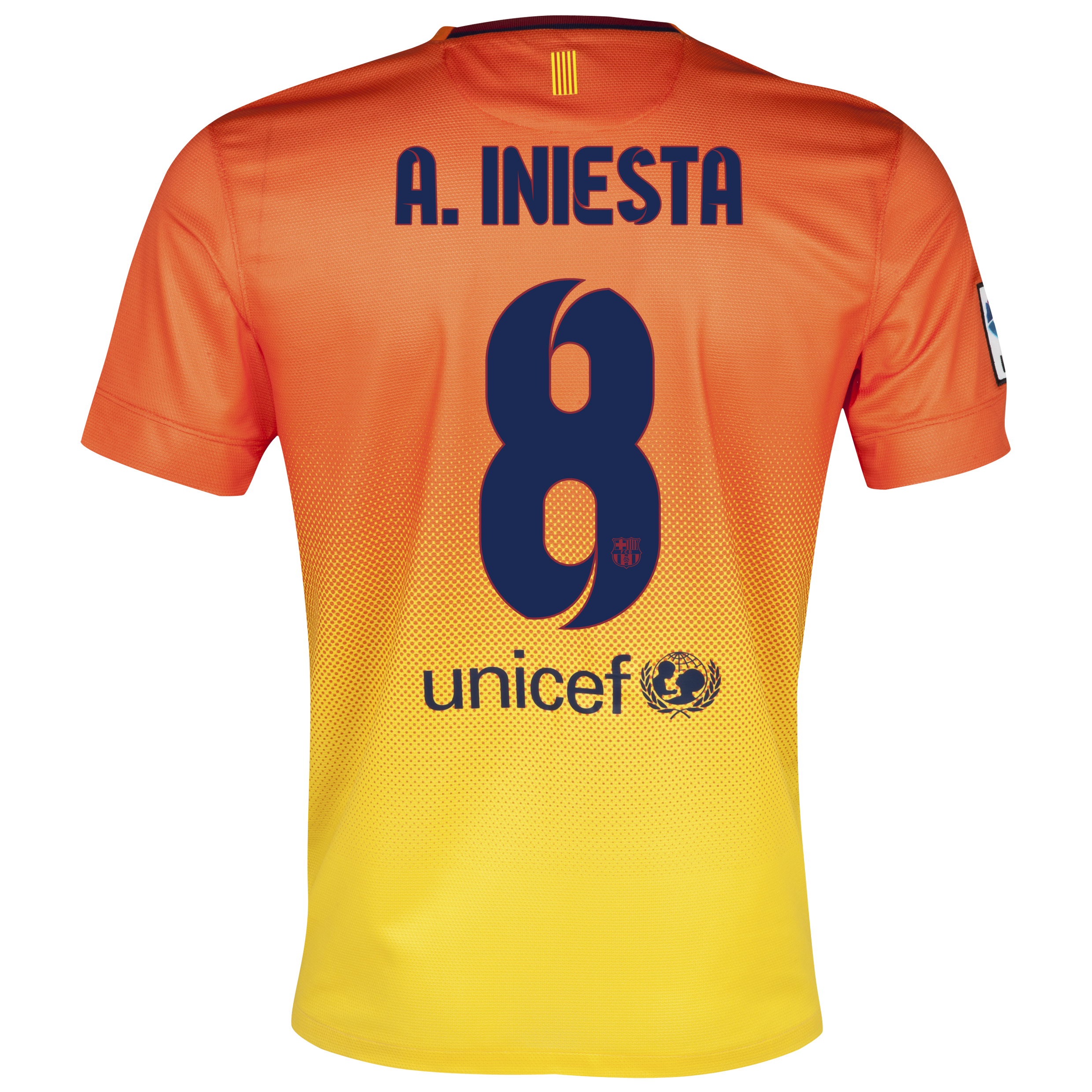 Barcelona Away Shirt 2012/13 with A. Iniesta  8 printing