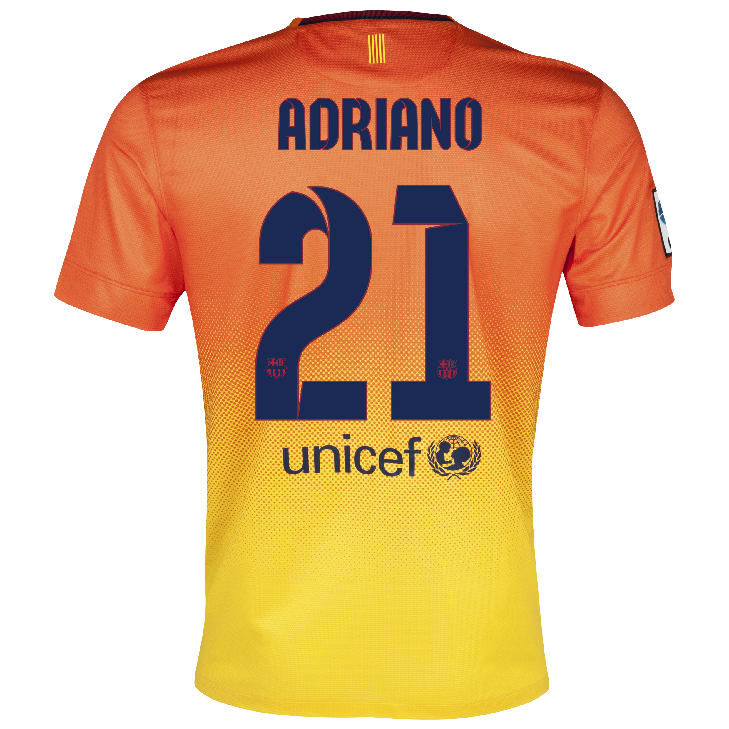 Barcelona Away Shirt 2012/13  - Kids with Adriano 21 printing