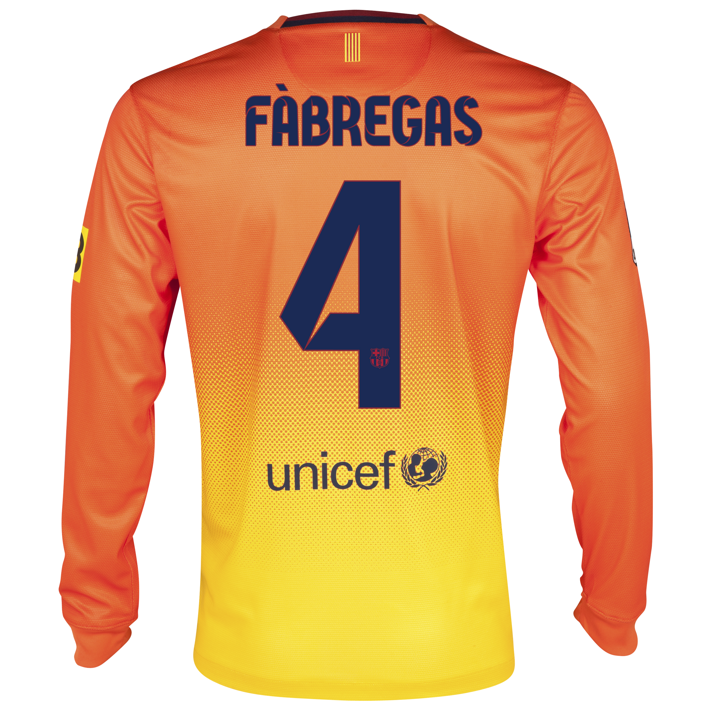 Barcelona Away Shirt 2012/13 - Long Sleeved with Fabregas 4 printing