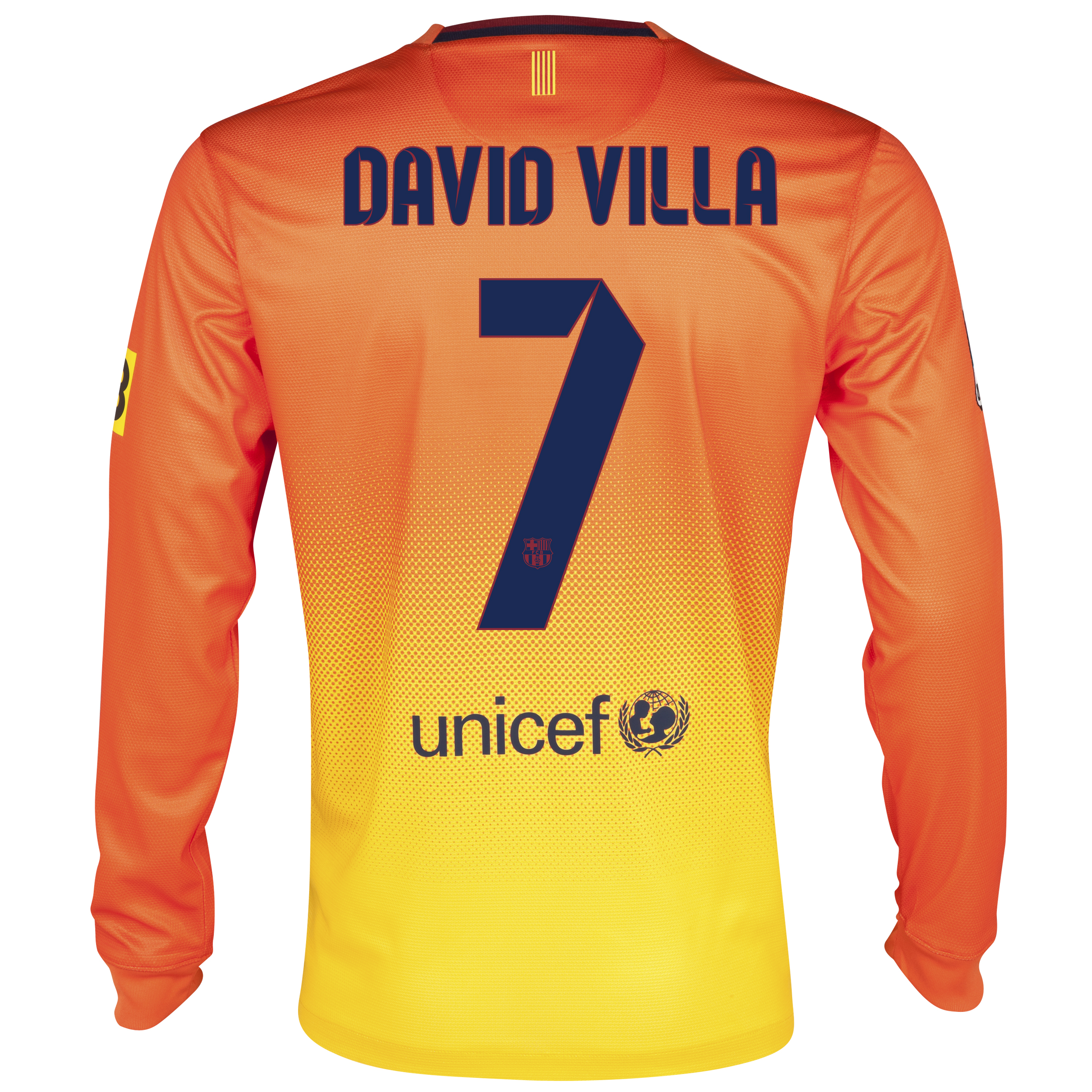 Barcelona Away Shirt 2012/13 - Long Sleeved with David Villa 7 printing
