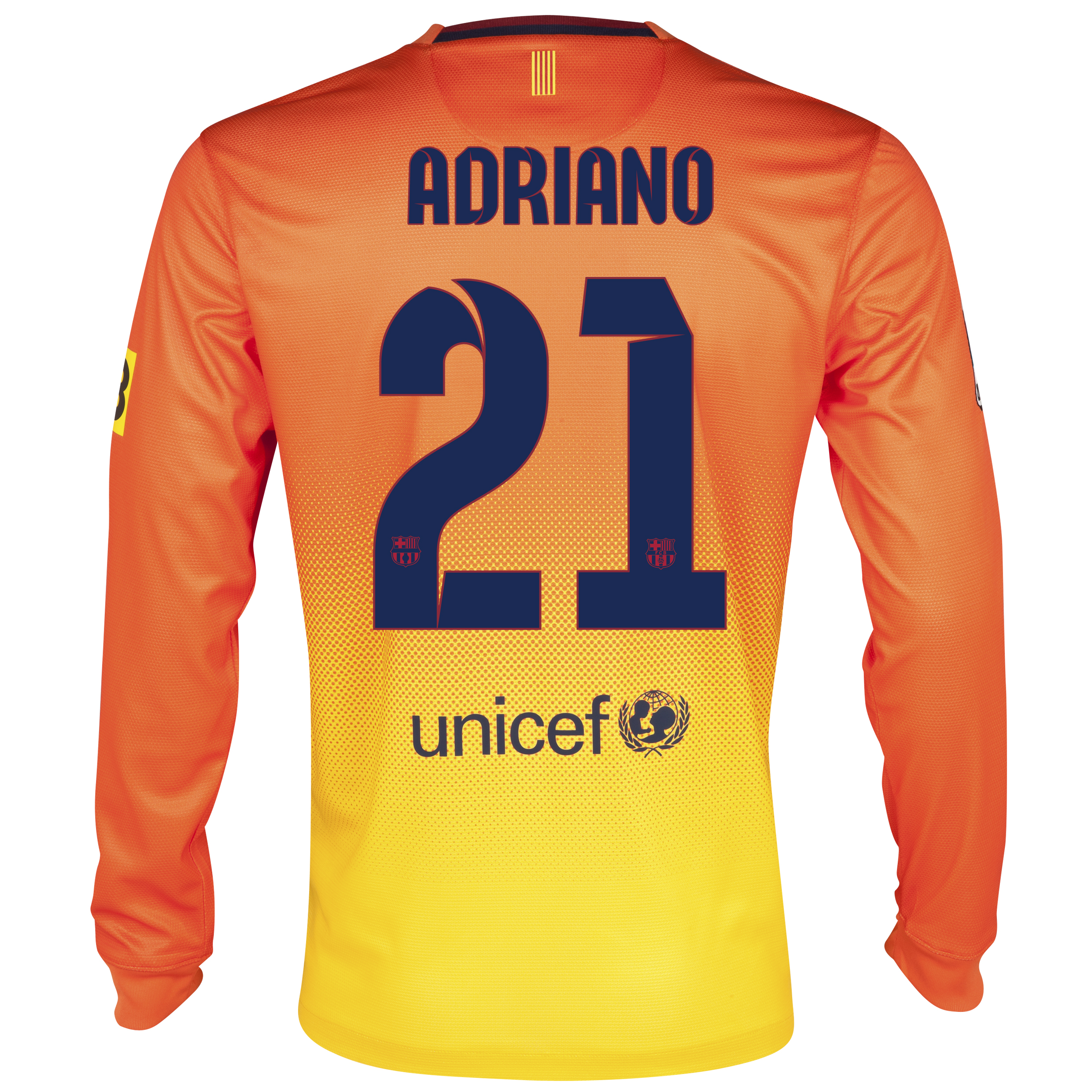 Barcelona Away Shirt 2012/13 - Long Sleeved with Adriano 21 printing