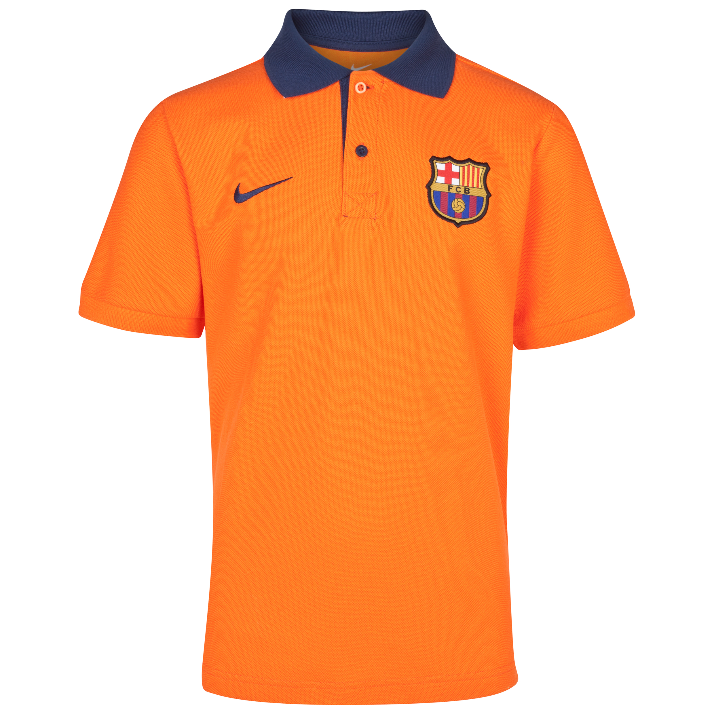 Barcelona Core Polo- Safety Orange/Midnight Navy - Youths