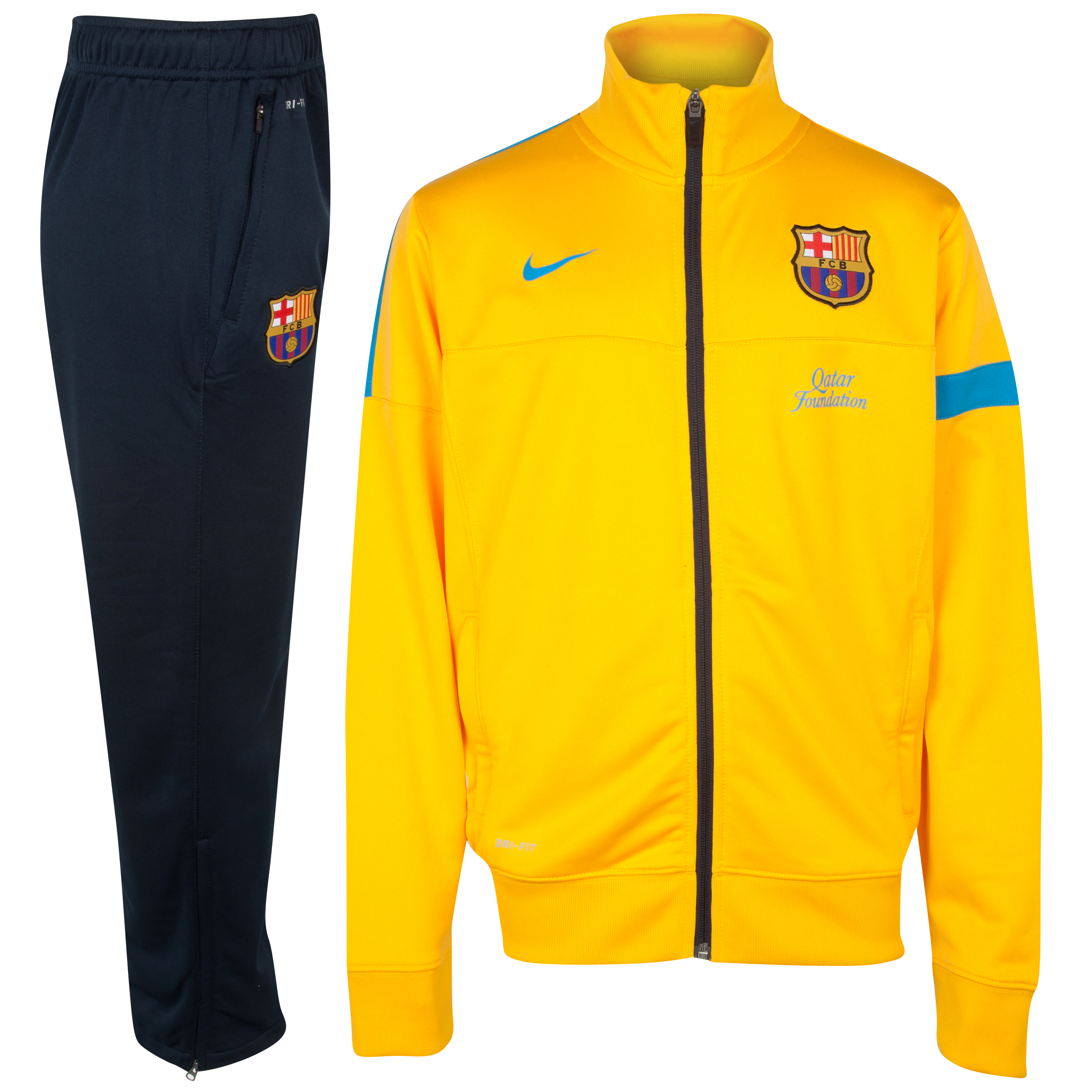 Barcelona Sideline Knitted Warm Up Tracksuit - University Gold/Dynamic Blue - Youths