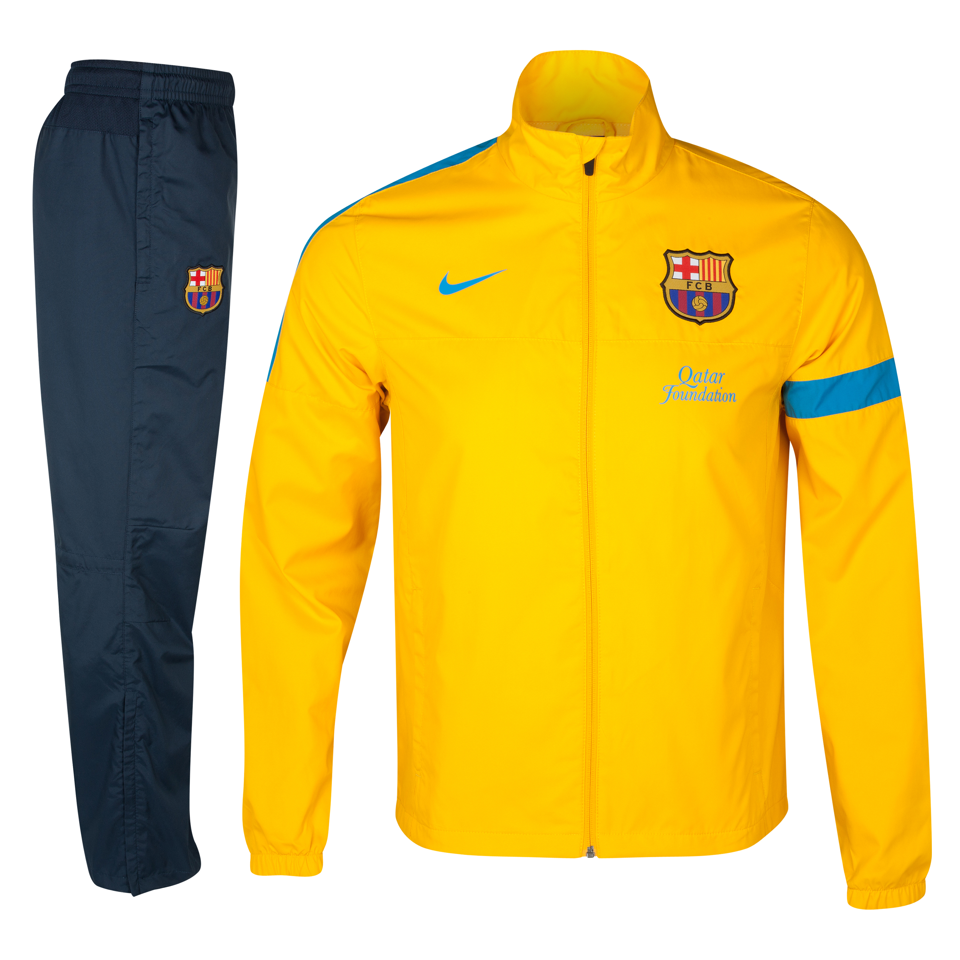 Barcelona Sideline Woven Warm Up Tracksuit - University Gold/Dynamic Blue - Youths