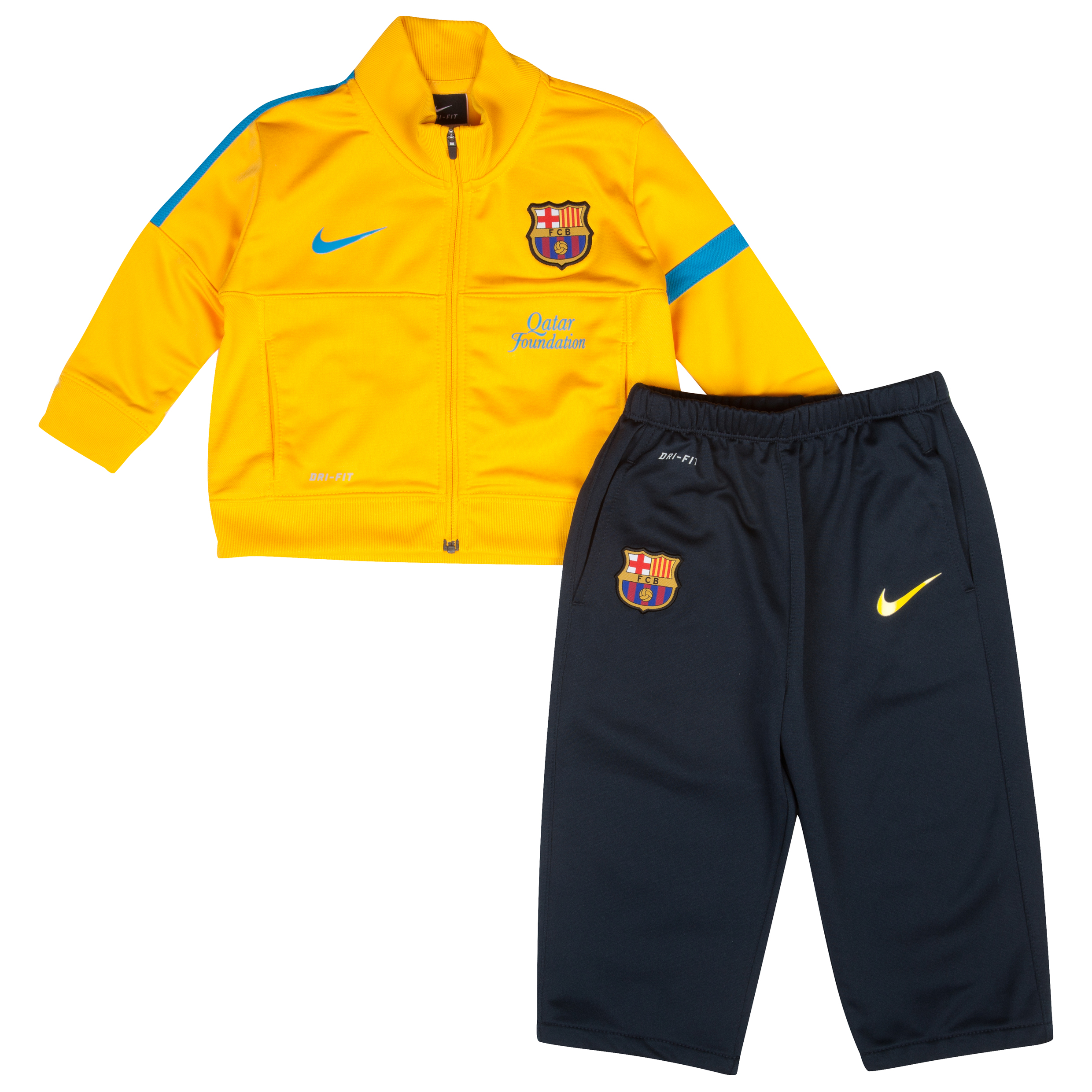Barcelona Sideline Knitted Warm Up Tracksuit - University Gold/Dynamic Blue - Infants