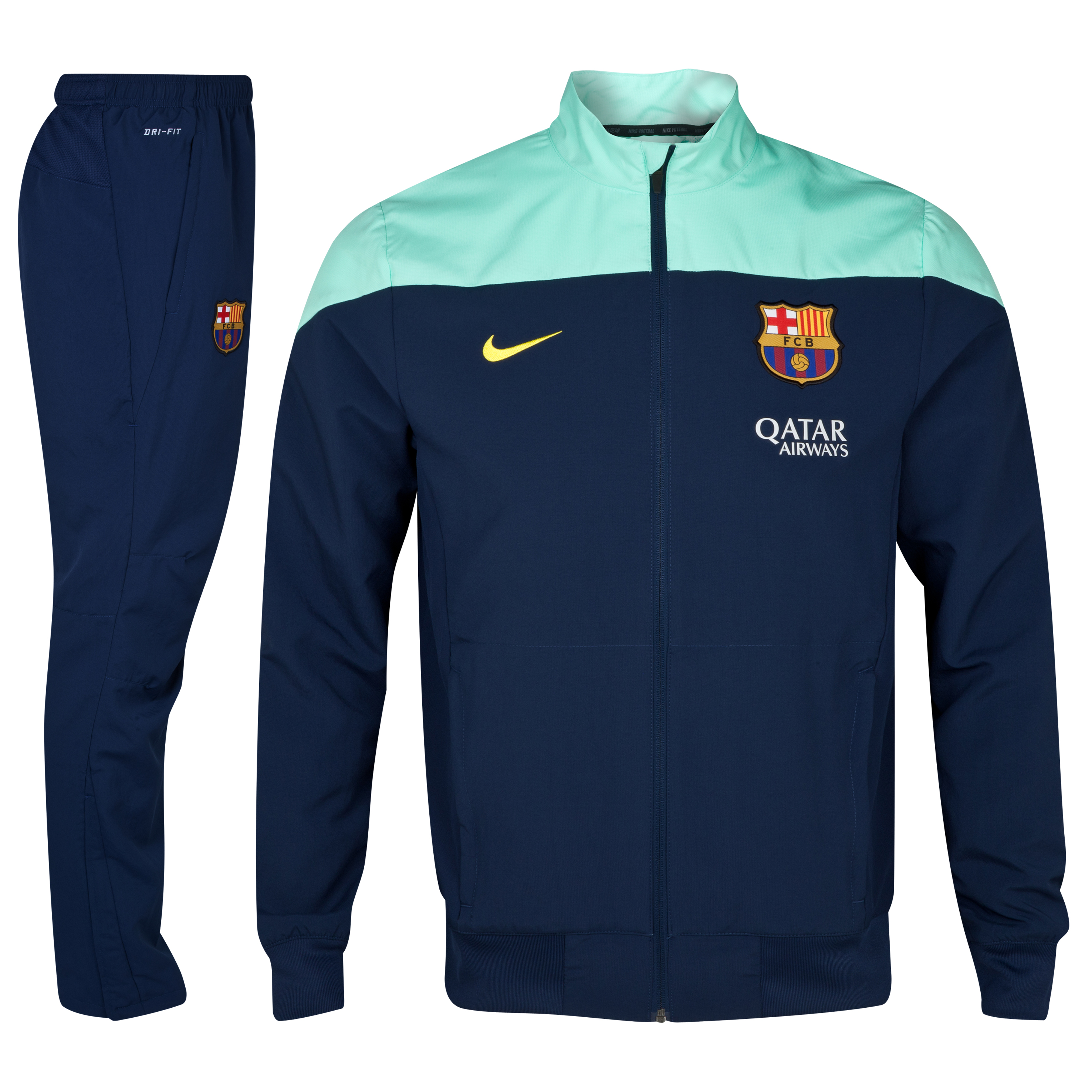 Barcelona Squad Sideline Woven Warm Up Tracksuit Navy