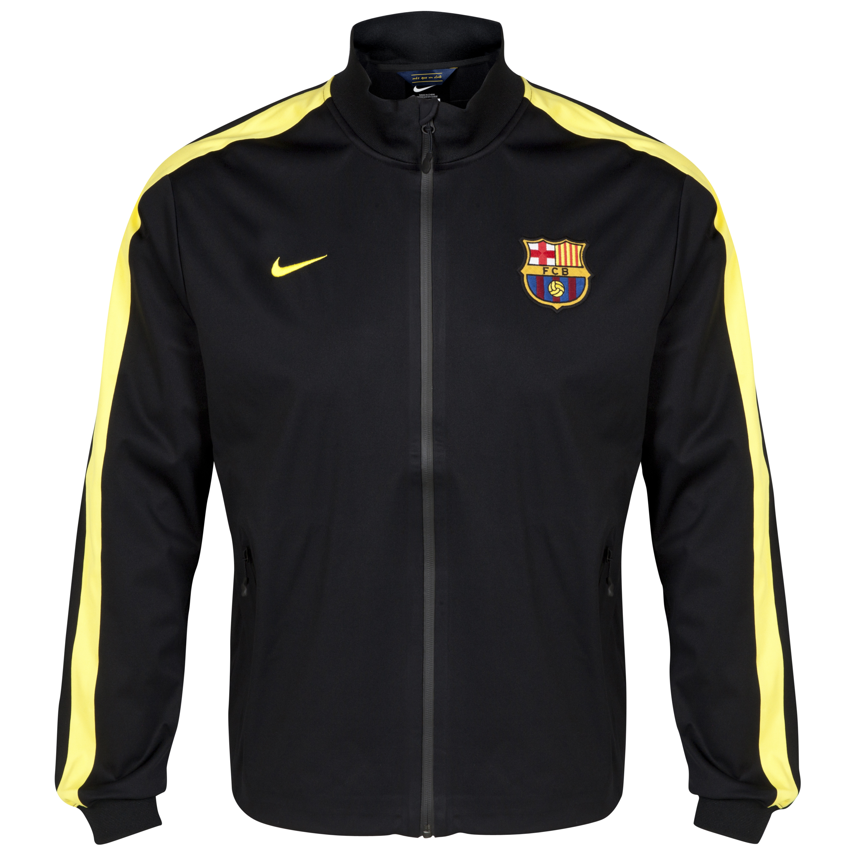 Barcelona Authentic UEFA Champions League N98 Jacket - Black/Vibrant Yellow Black