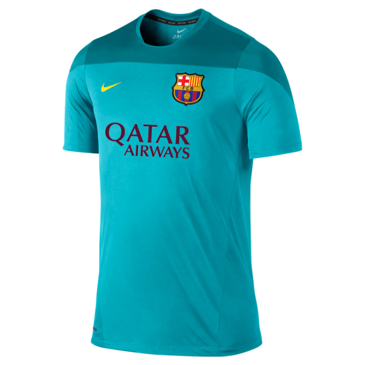 Barcelona Squad Short Sleeve Training Top - Kids Blue