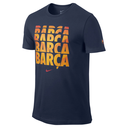 Barcelona Core Type T-Shirt - Kids Navy