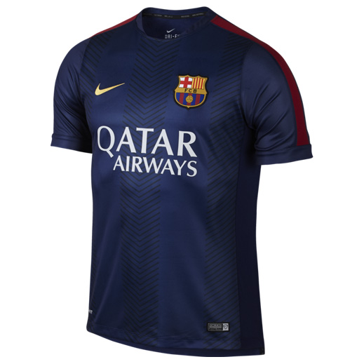 Barcelona Squad Short Sleeve Pre Match Top Blue