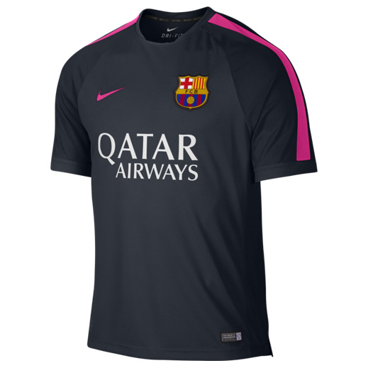 Barcelona Squad Short Sleeve Training Top Navy