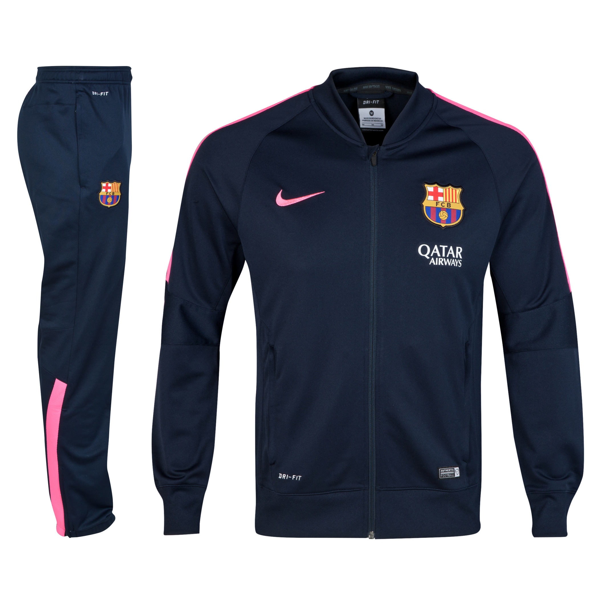 Barcelona Squad Sideline Knit Warm Up Tracksuit Navy