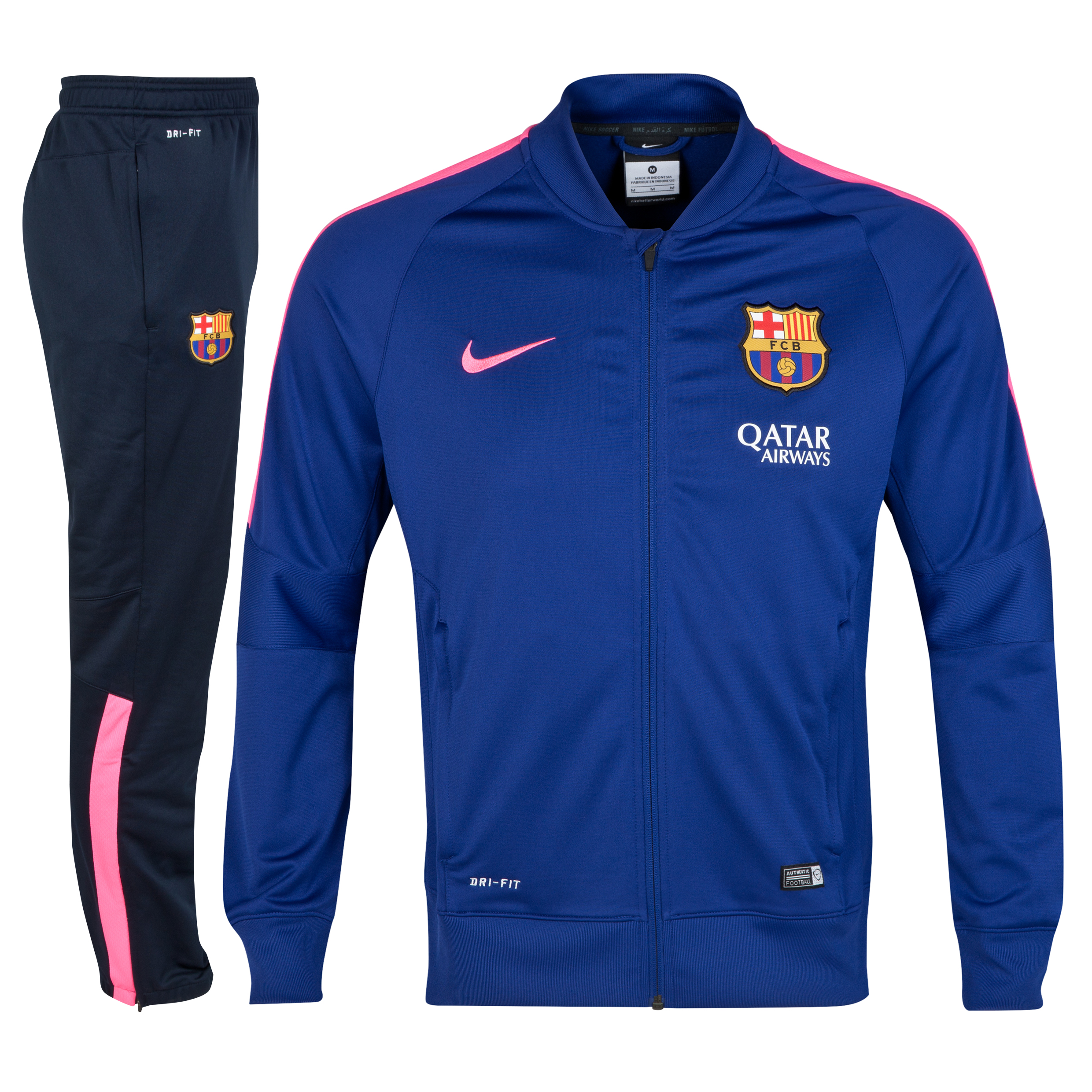 Barcelona Squad Sideline Knit Warm Up Tracksuit Royal Blue