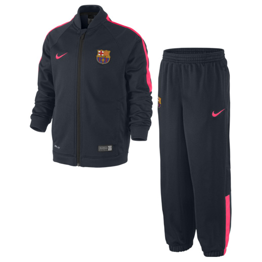 Barcelona Squad Sideline Knit Warm Up Tracksuit - Little Boys Navy