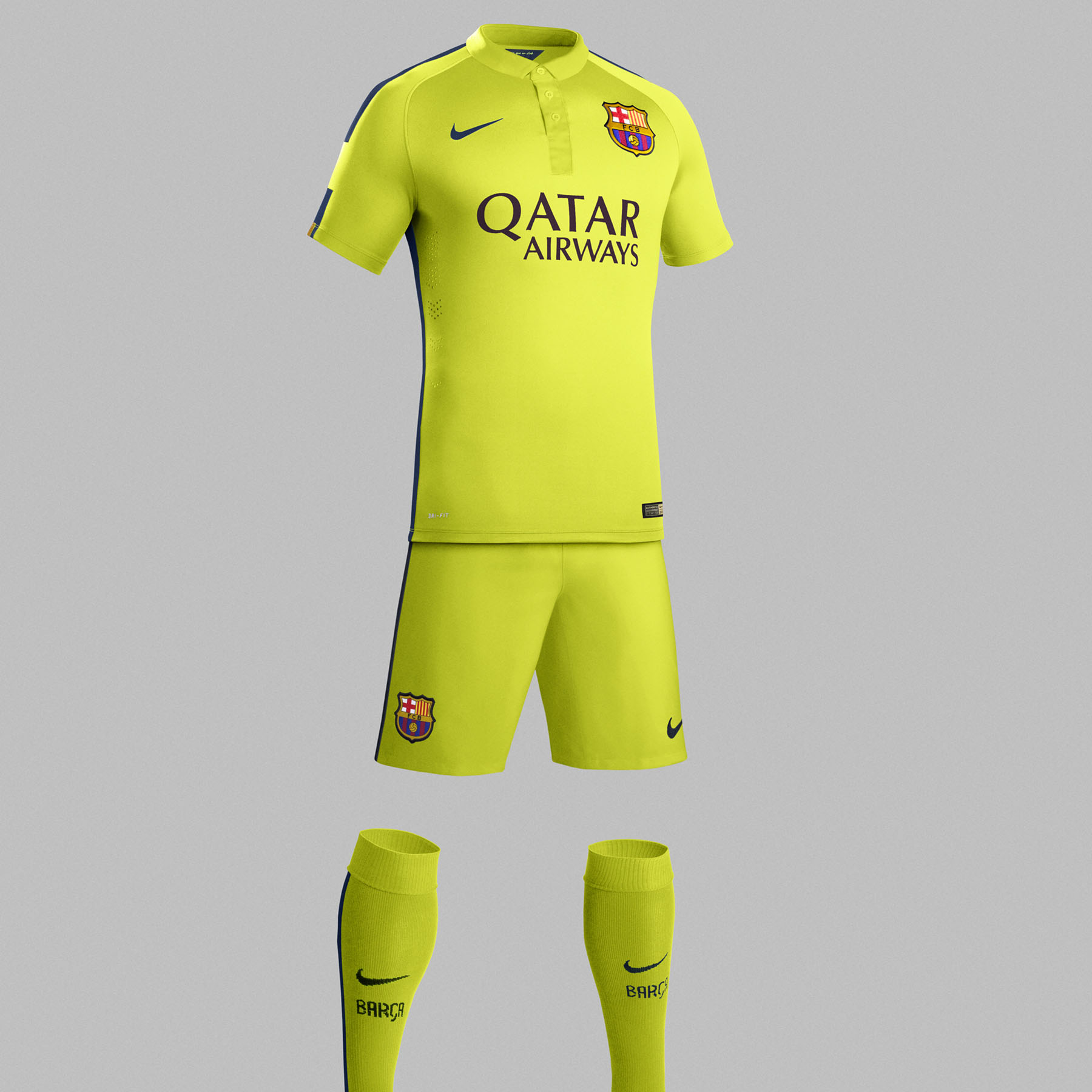 Barcelona Third Kit 2014/15 - Little Boys Yellow