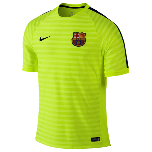 Barcelona Squad Short Sleeve Training Top Yellow