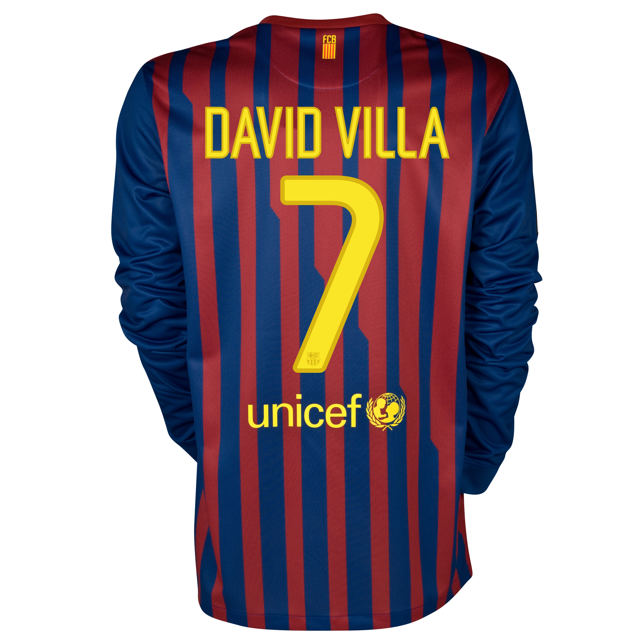 Barcelona Home Shirt 2011/12 - Long Sleeved with David Villa 7 printing