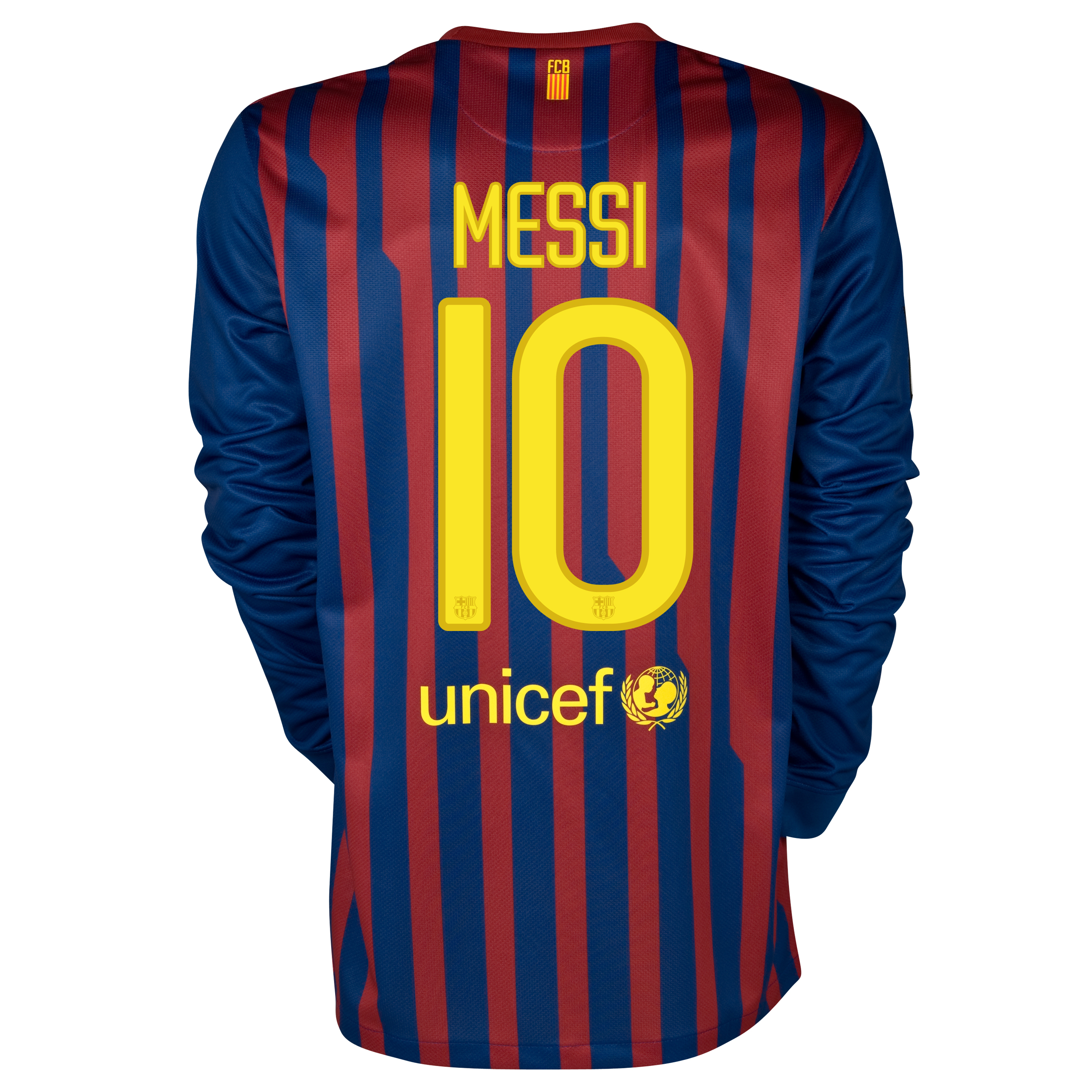 Barcelona Home Jersey 2011/12 - Long Sleeved with Messi 10 printing